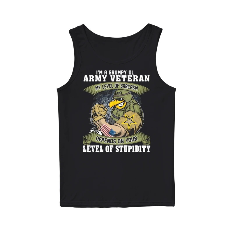 I'm a grumpy old Army Veteran my level of sarcasm depends on your level of stupidity tank top