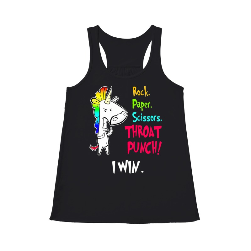 Official Unicorn rock paper scissors throat punch I win flowy tank
