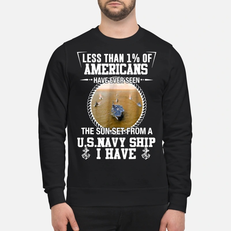 Veteran less than 1% of americans have ever seen the sun set from a U.s.Navy ship I have sweatshirt