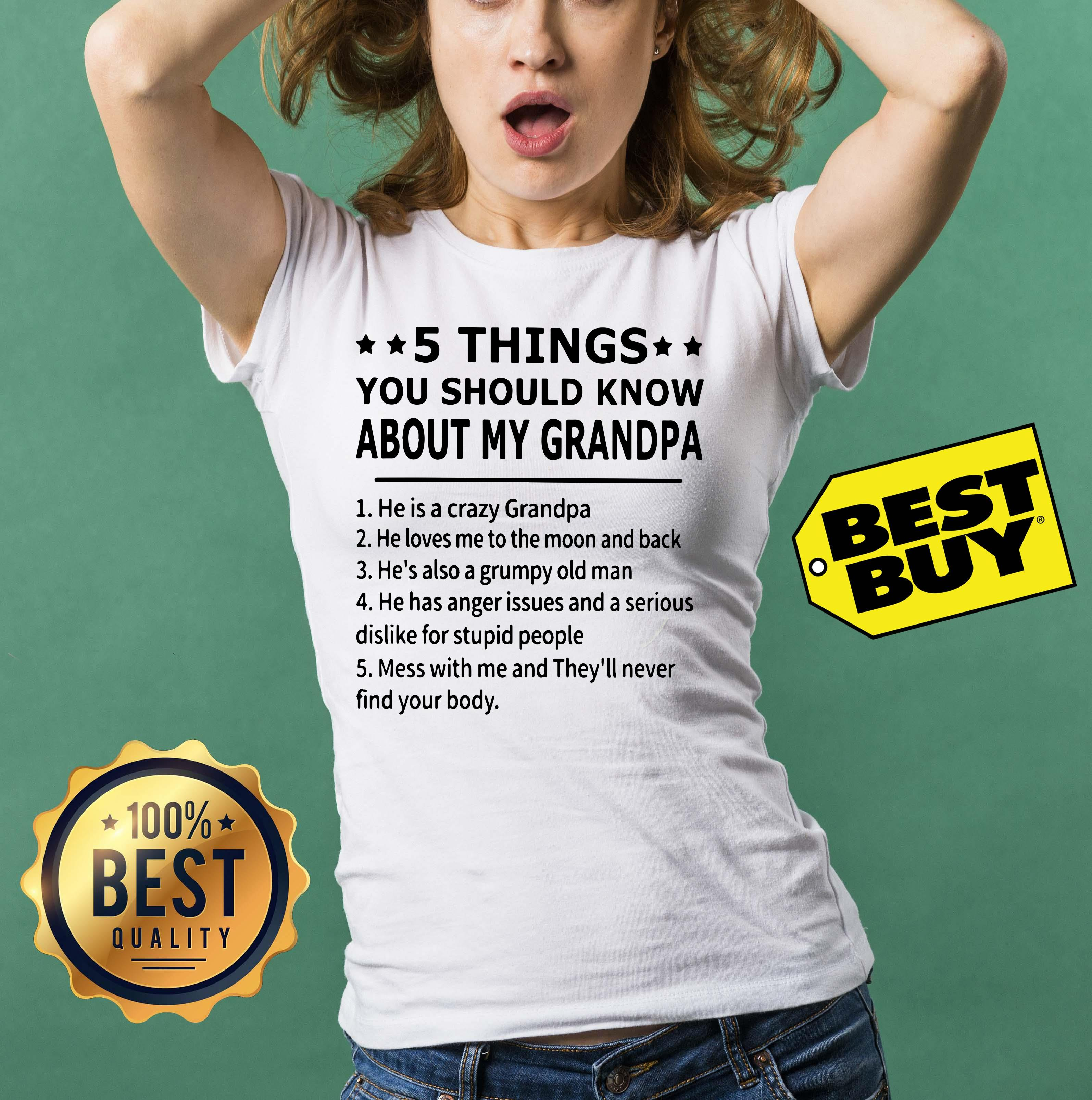 5 things you should know about my grandpa funny ladies tee