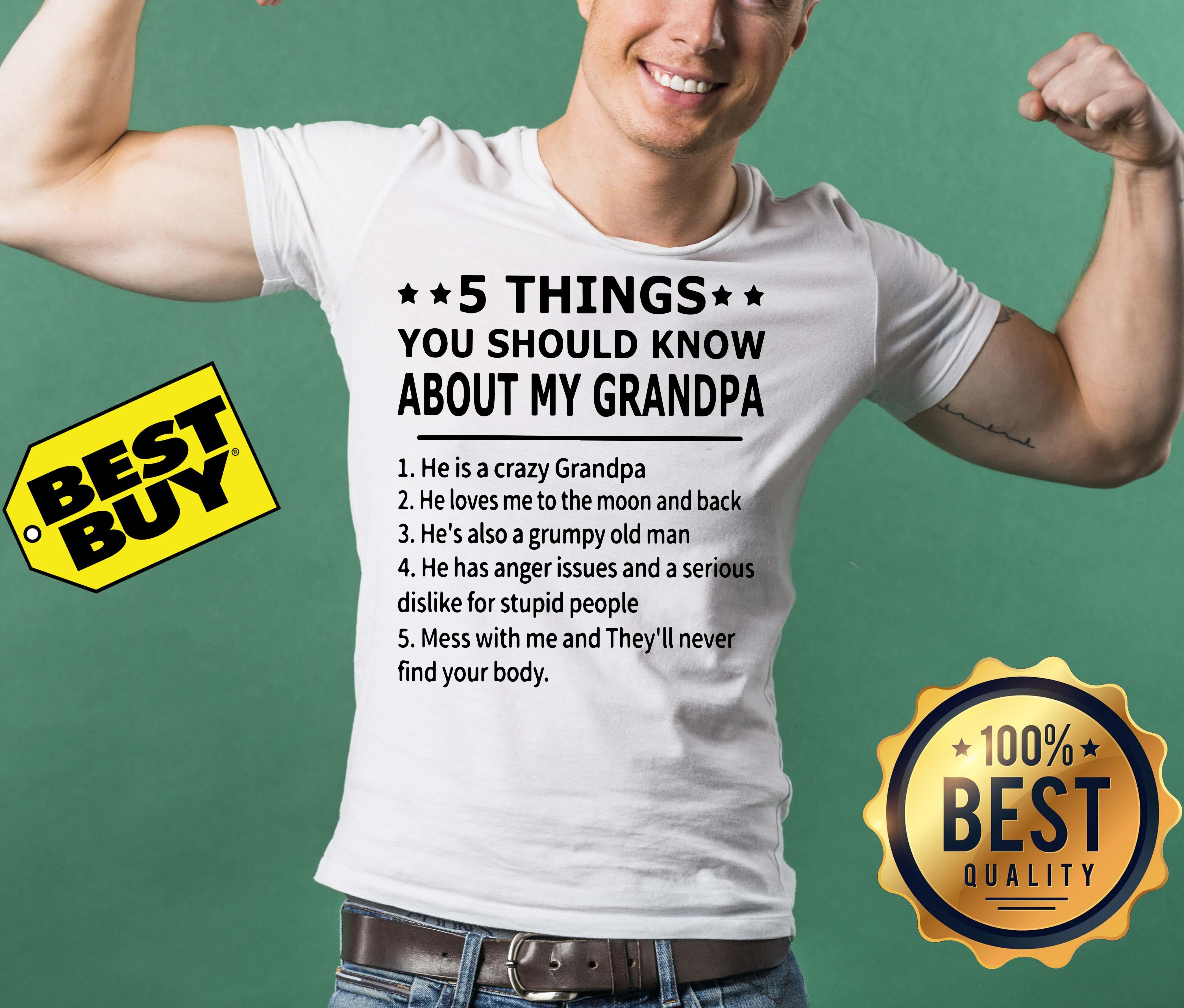 5 things you should know about my grandpa funny tank top