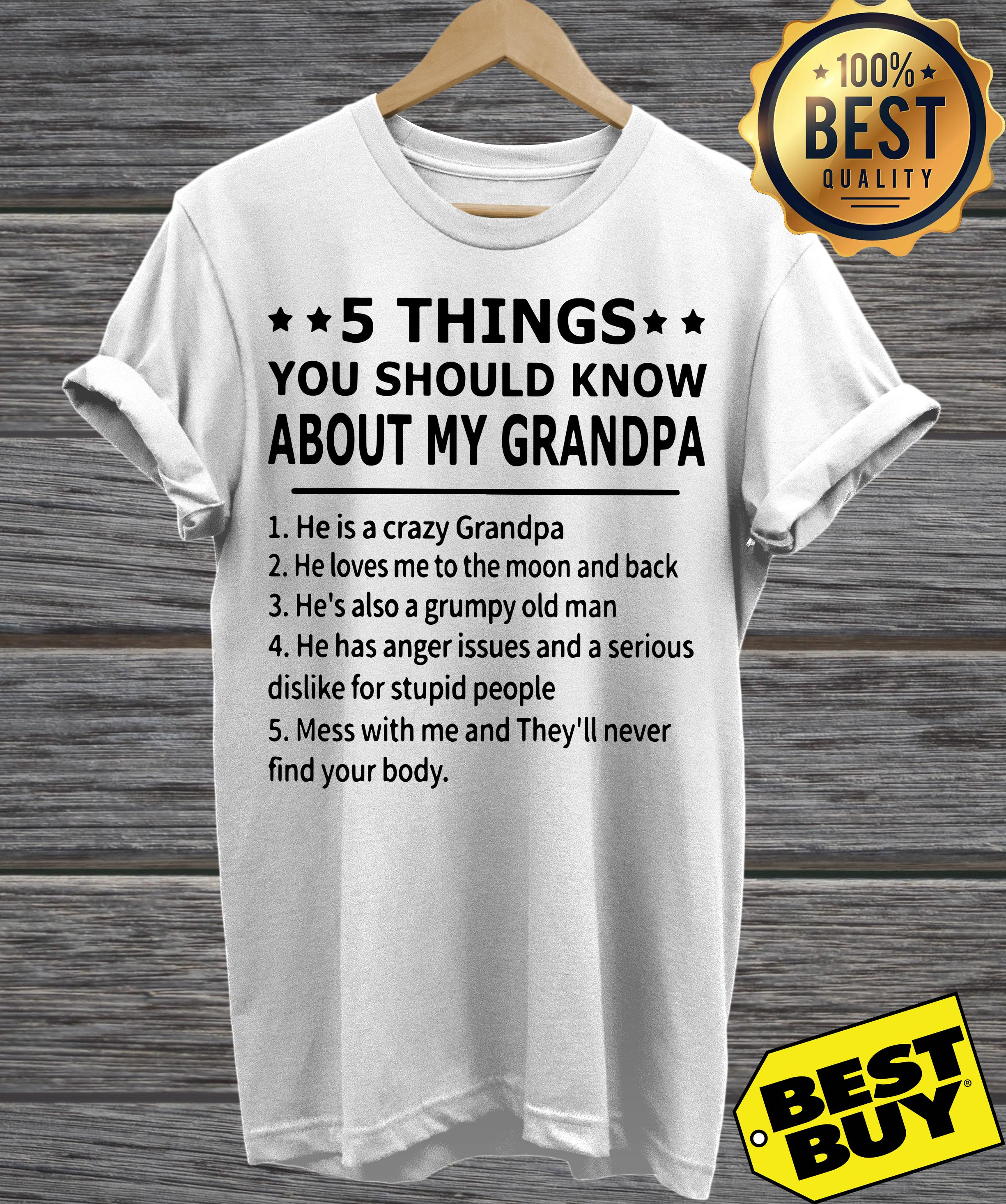 5 things you should know about my grandpa funny v-neck