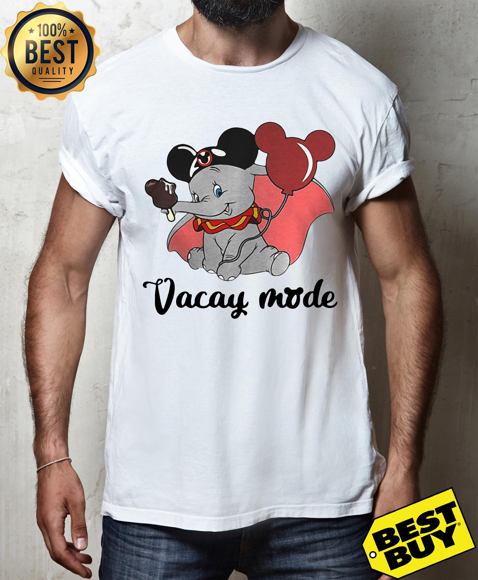 Baby elephant cream and balloons Mickey Mouse vacay mode shirt