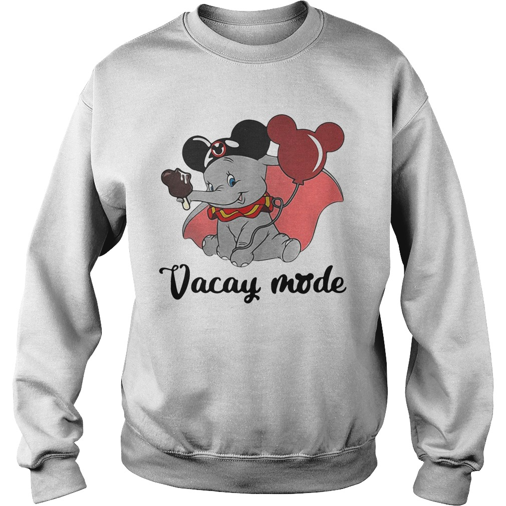 Baby elephant cream and balloons Mickey Mouse vacay mode sweatshirt