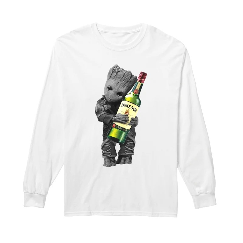 Baby Groot hug Jameson Irish Whiskey long sleeve