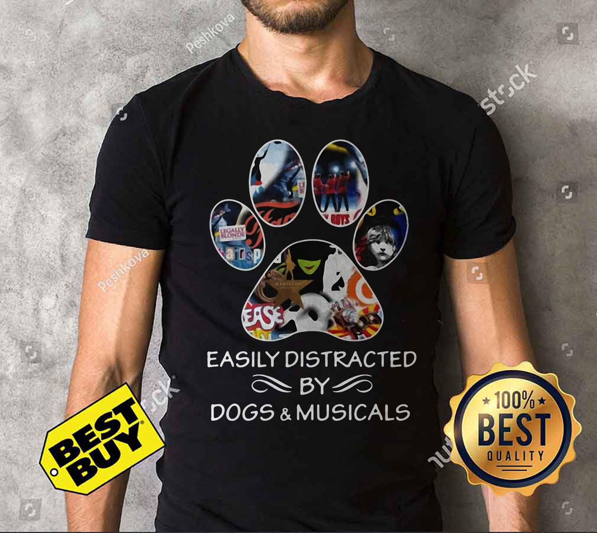 Broadway easily distracted by dogs and musicals v-neck