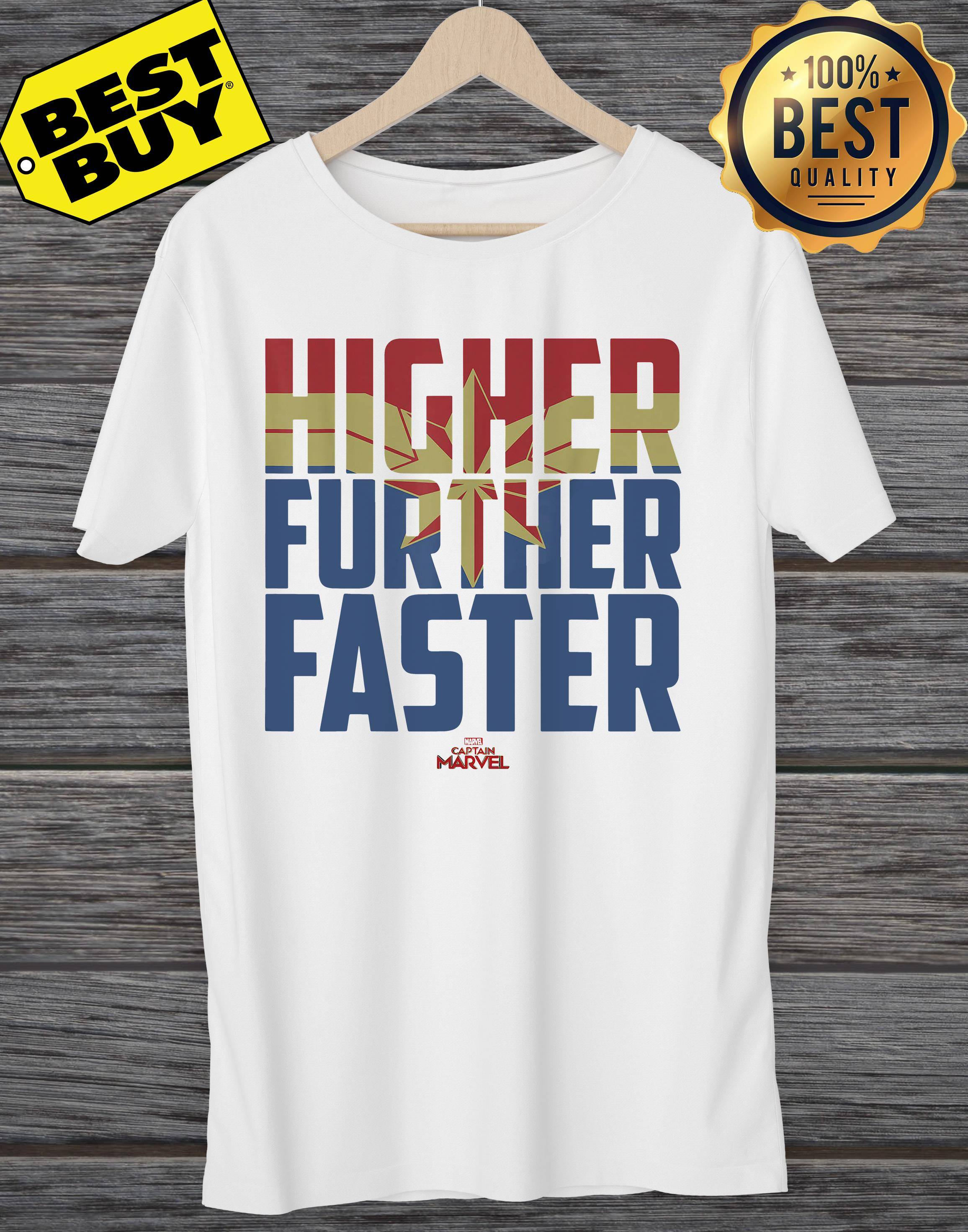 Captain Marvel Movie Higher Further Faster Graphic ladies tee