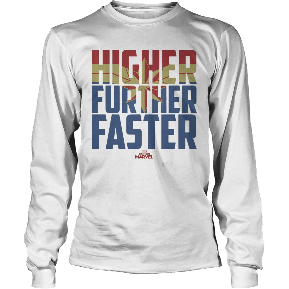 Captain Marvel Movie Higher Further Faster Graphic long sleeve