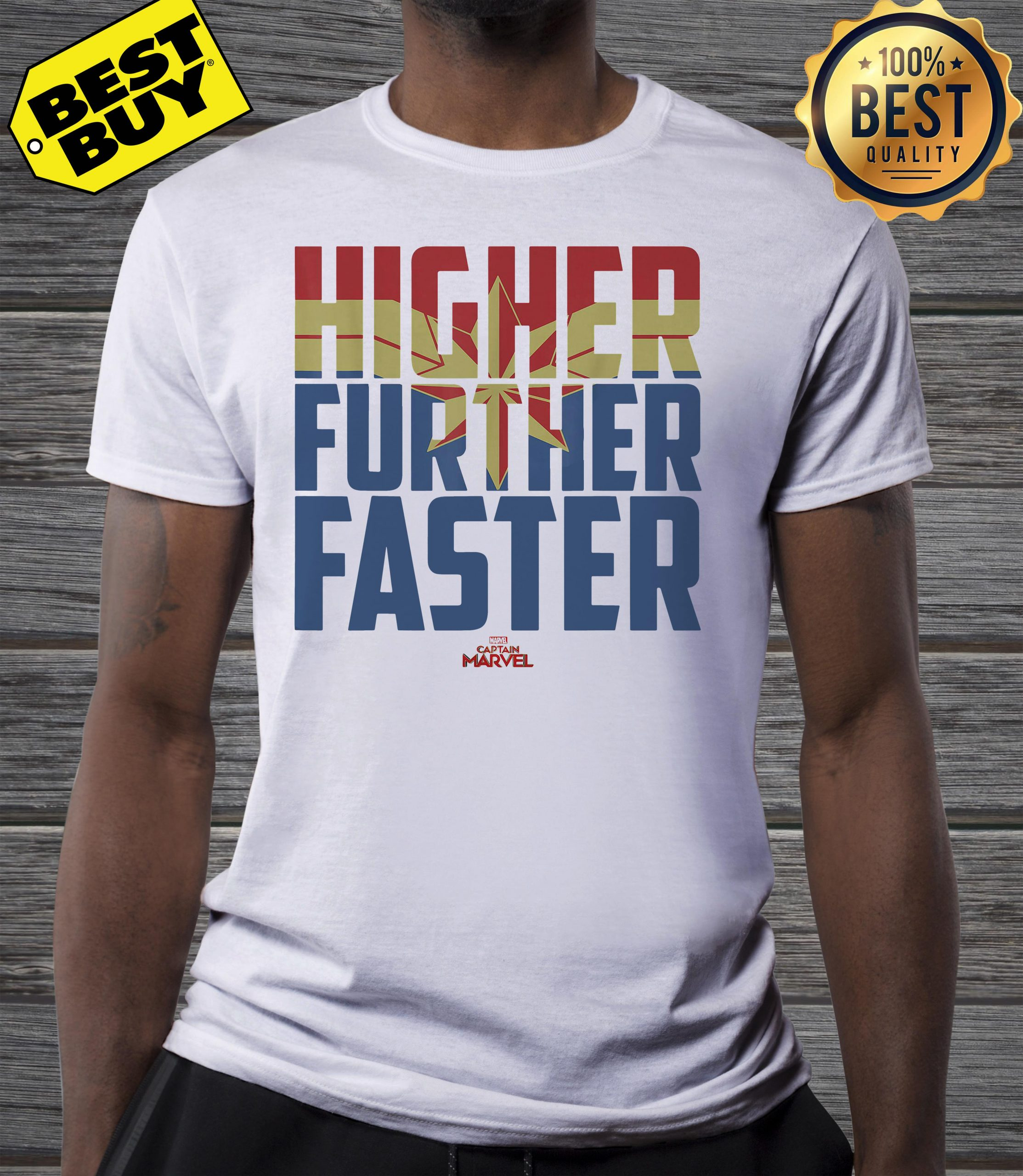 Captain Marvel Movie Higher Further Faster Graphic v-neck
