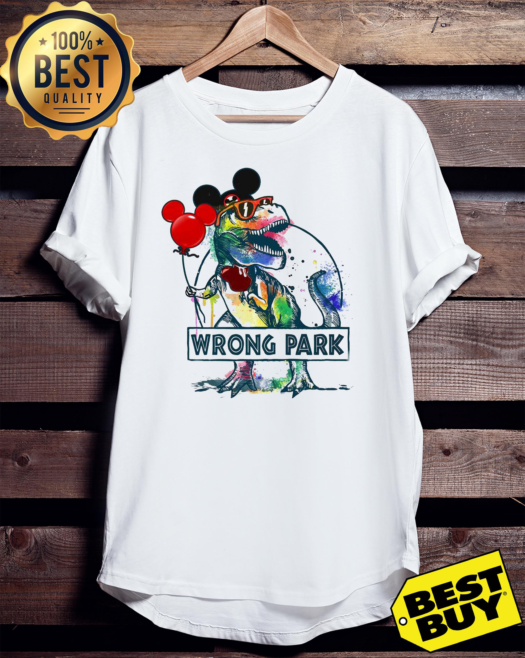 Dinosaur Trex and Mickey Mouse wrong Park ladies tee