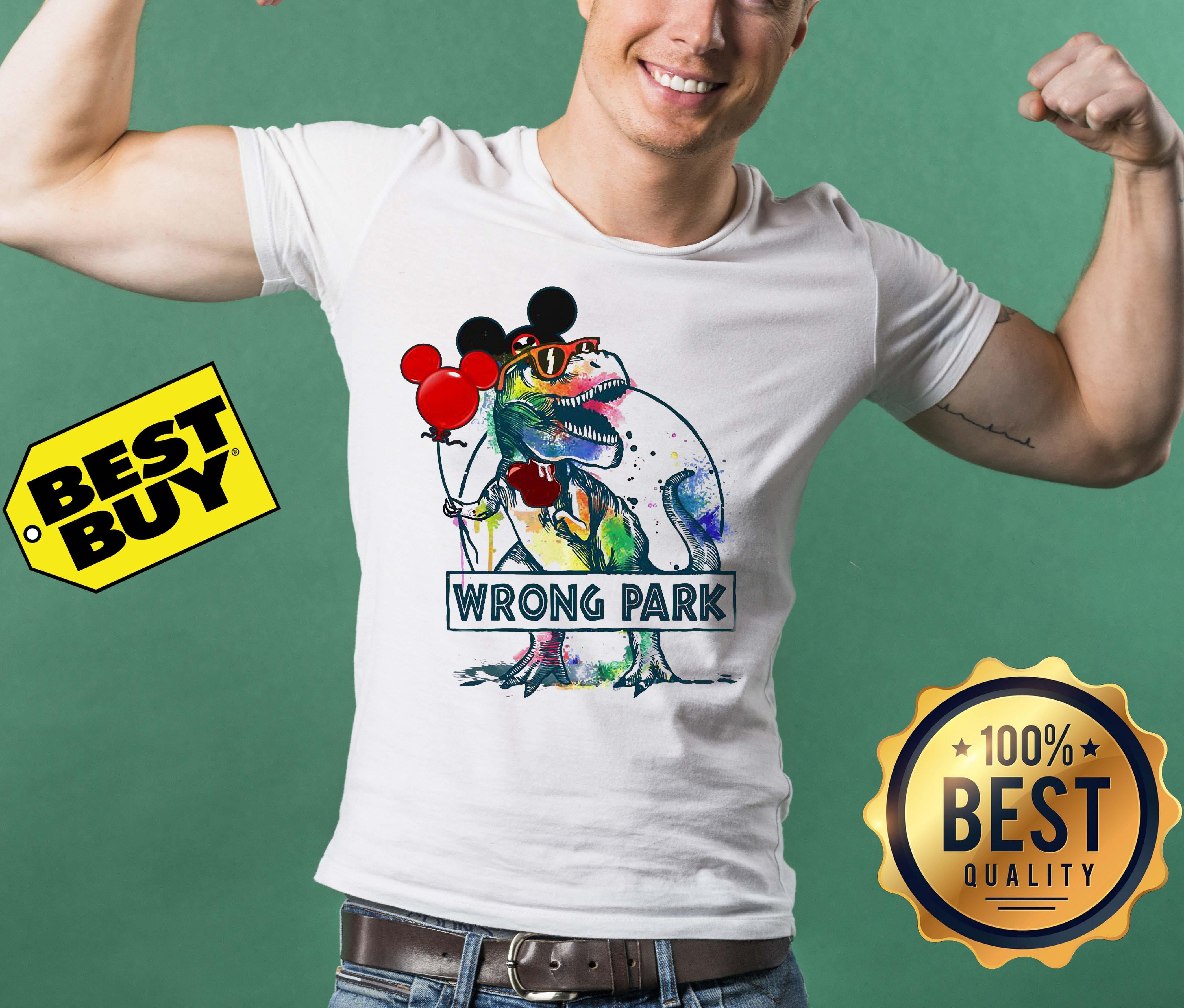 Dinosaur Trex and Mickey Mouse wrong Park v-neck