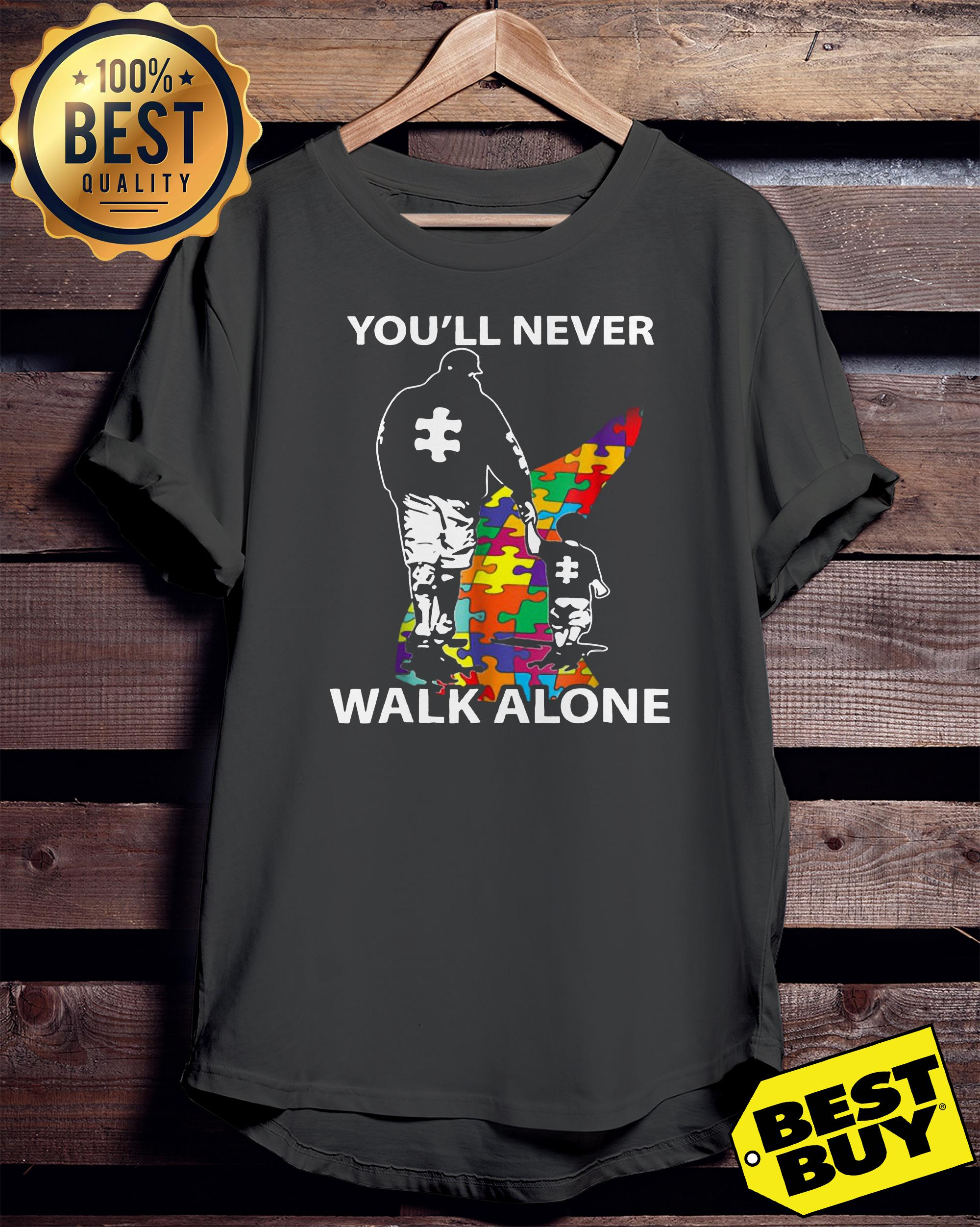 Father and son you'll never walk alone Autism Awareness day tank top