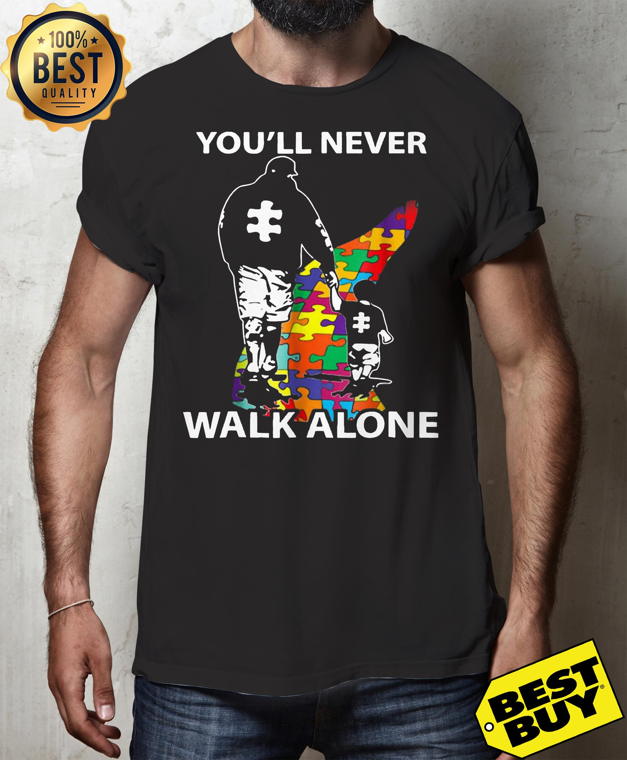 Father and son you'll never walk alone Autism Awareness day v-neck