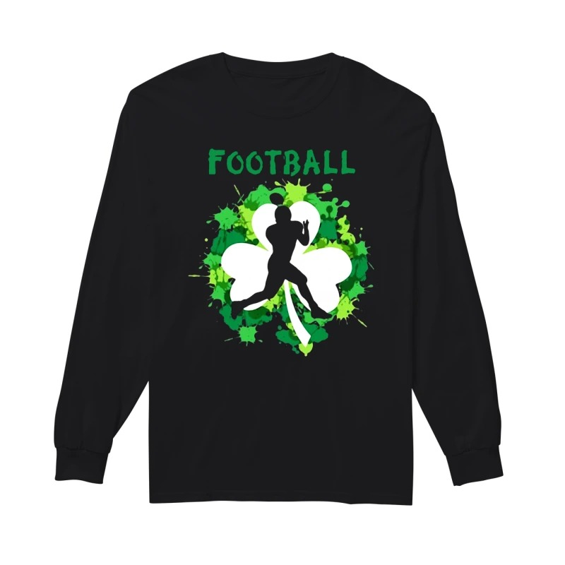 Football Shamrock Irish St Patty's Day Sport Shirt For Football Lover long sleeve