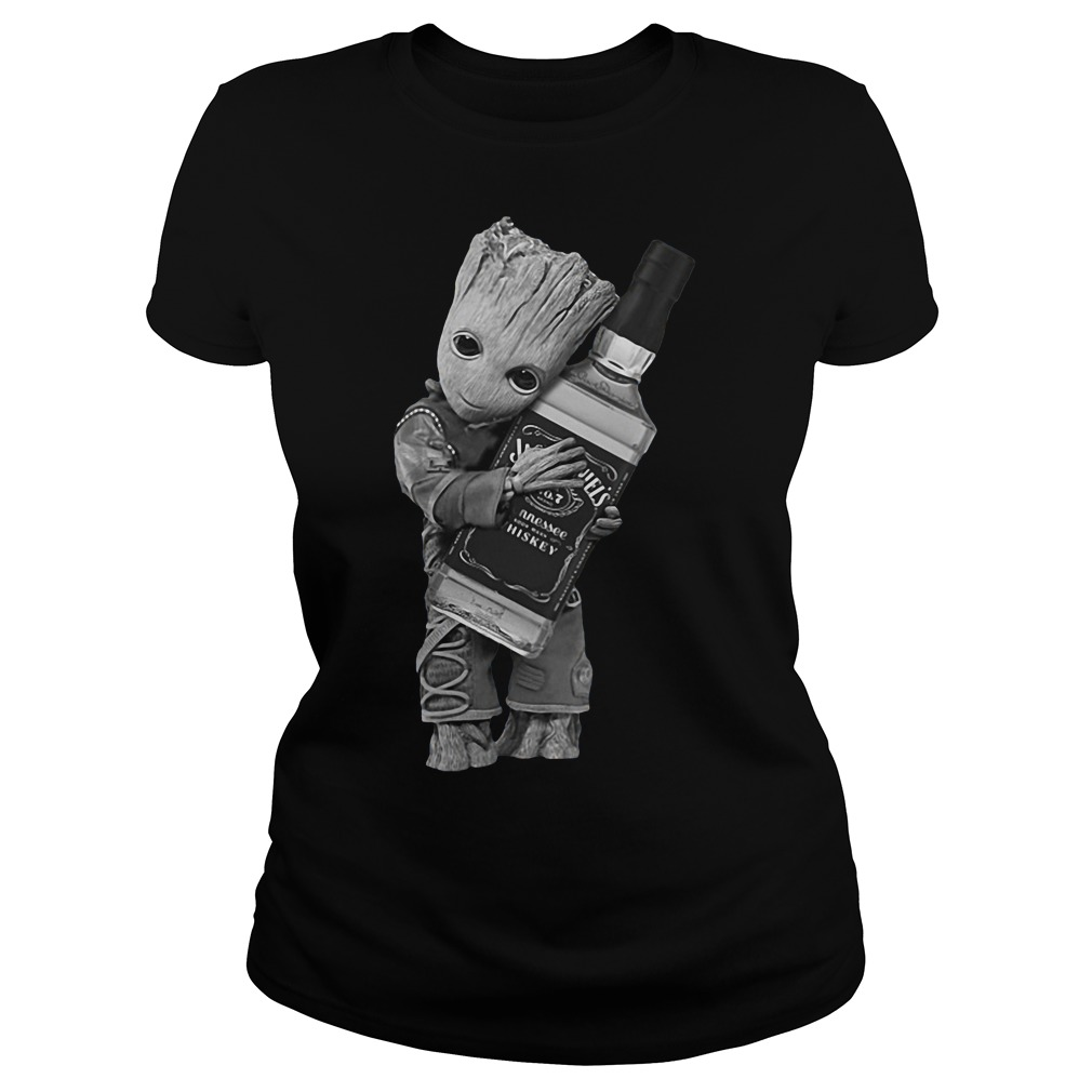 Guardians of the Galaxy Groot hug Jack Daniel's ladies tee