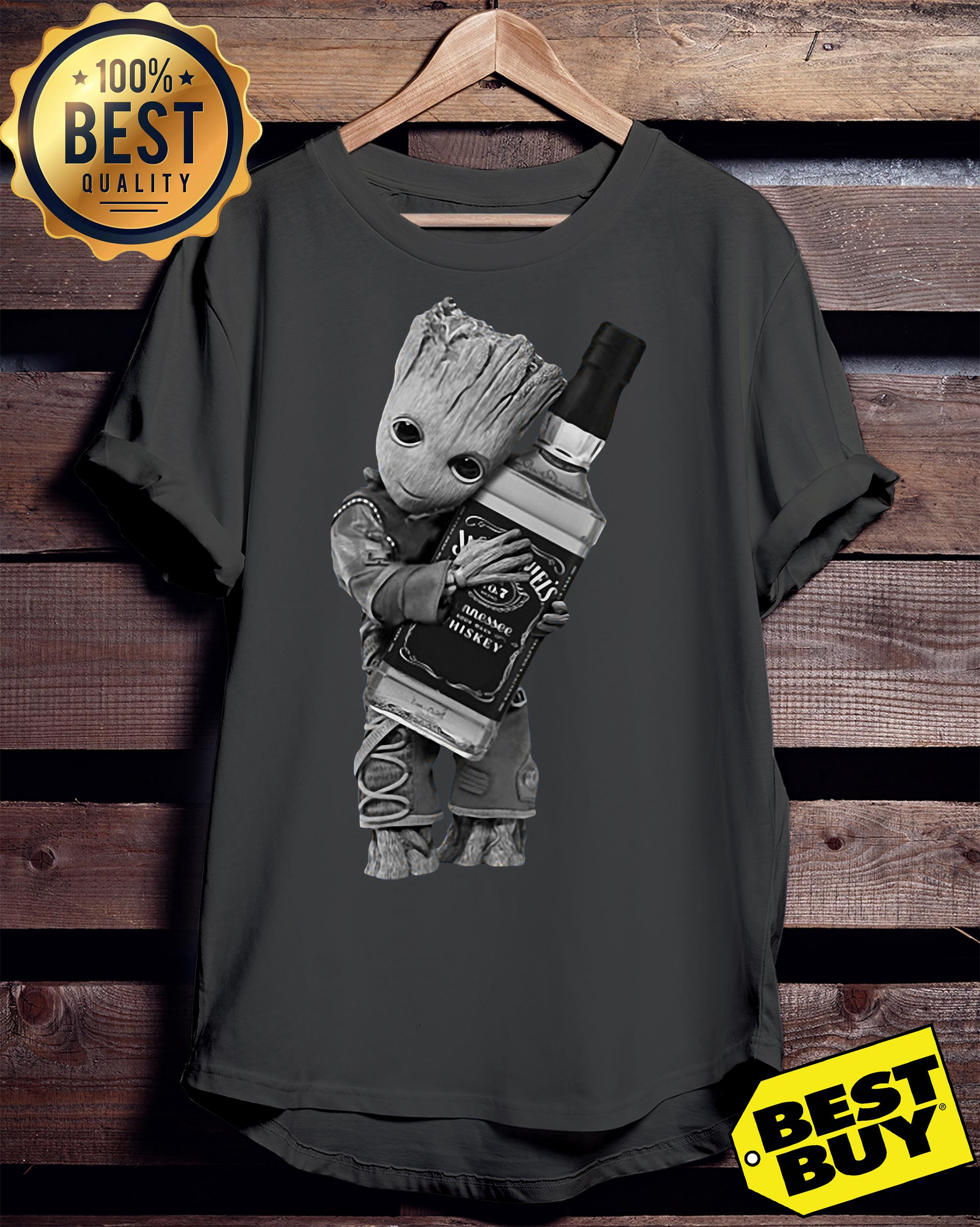 Guardians of the Galaxy Groot hug Jack Daniel's v-neck