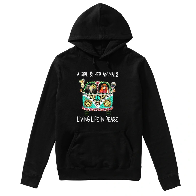 Hippie car a girl & her animals living life in peace elephant hoodie