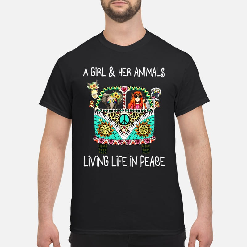 Hippie car a girl & her animals living life in peace elephant shirt