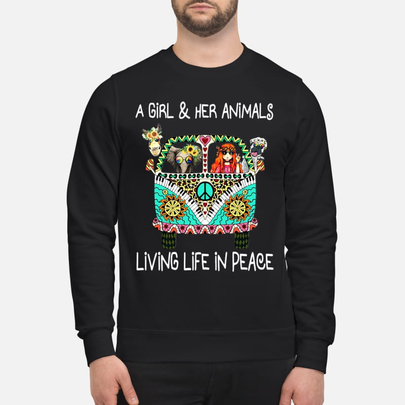 Hippie car a girl & her animals living life in peace elephant sweatshirt