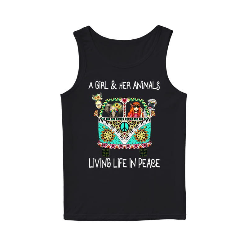 Hippie car a girl & her animals living life in peace elephant tank top