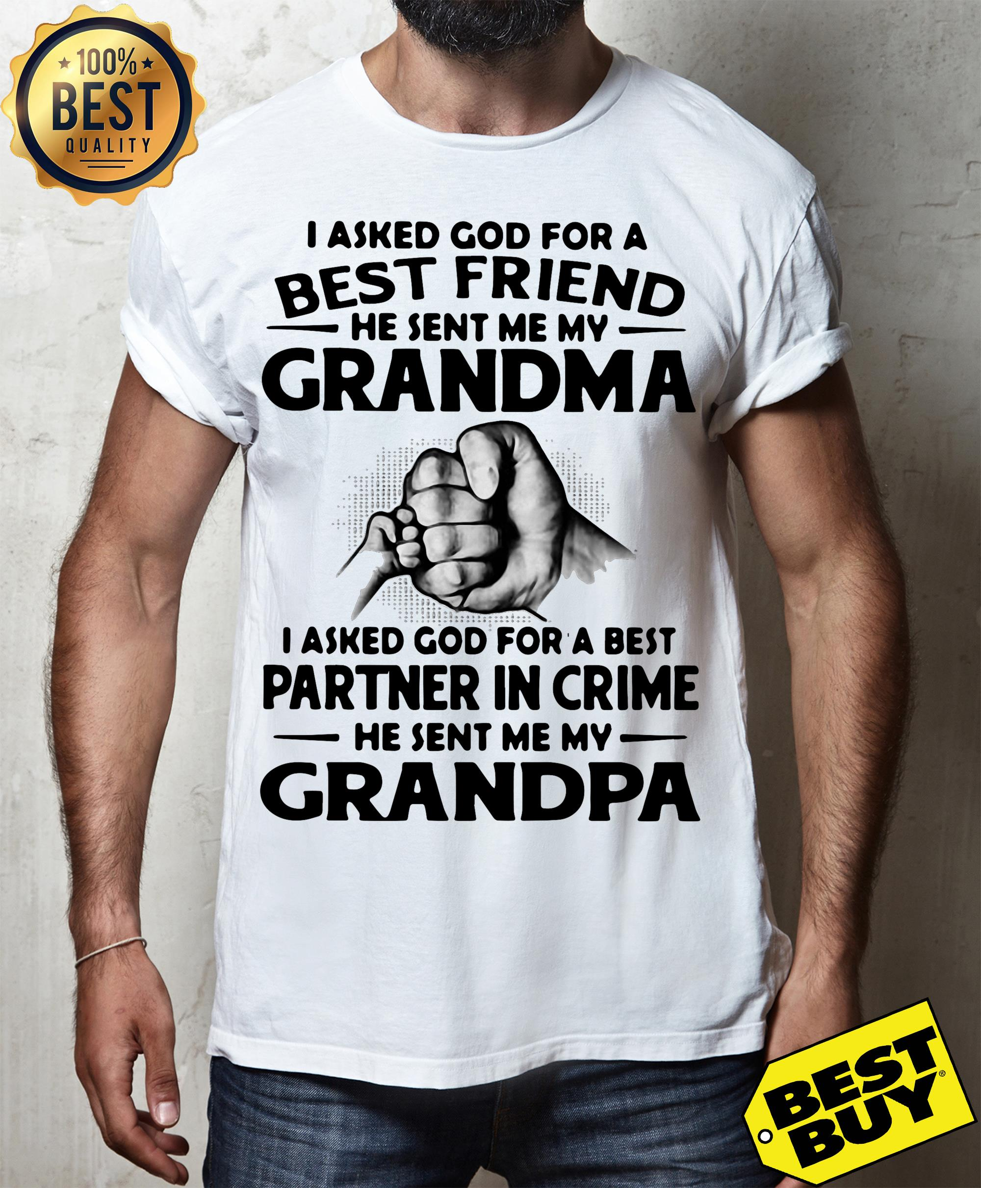I Asked God For A Best Friend He Sent Me My Grandma I Asked God For A Best Partner In Crime He Sent Me My Grandpa tank top