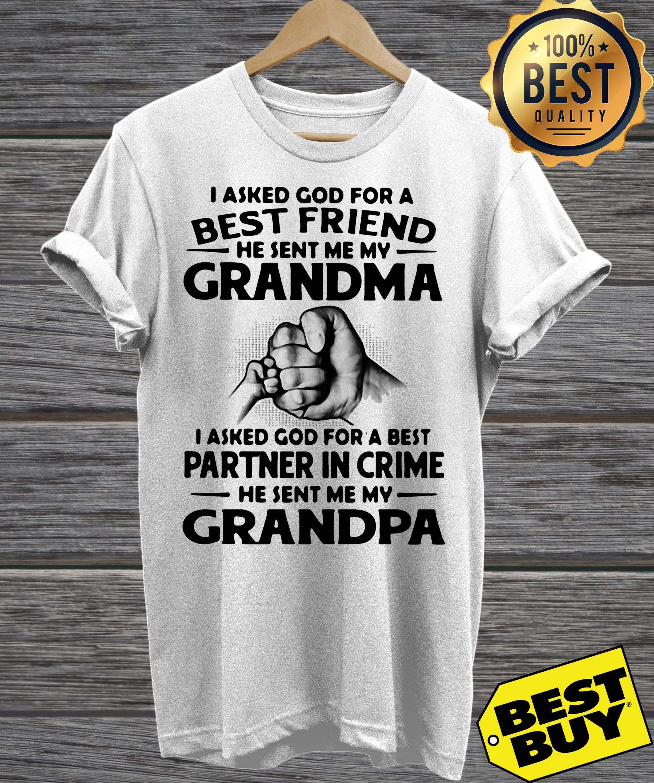 I Asked God For A Best Friend He Sent Me My Grandma I Asked God For A Best Partner In Crime He Sent Me My Grandpa v-neck