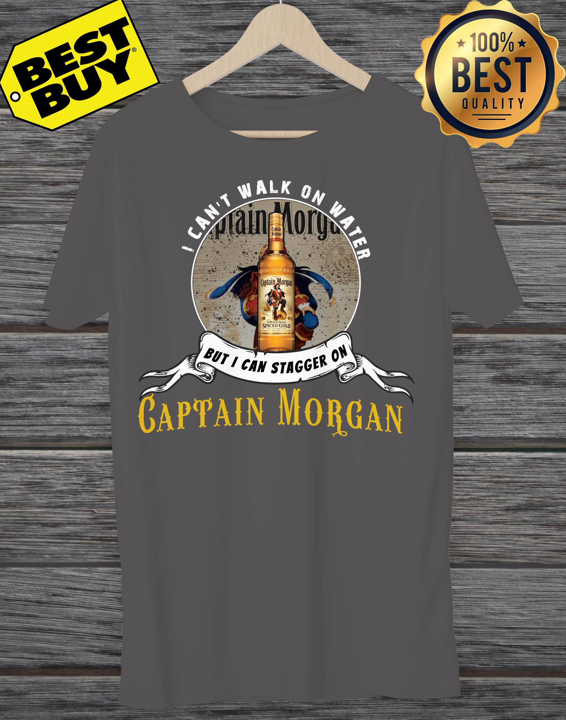 I can not walk on water but I can stagger on Captain Morgan v-neck