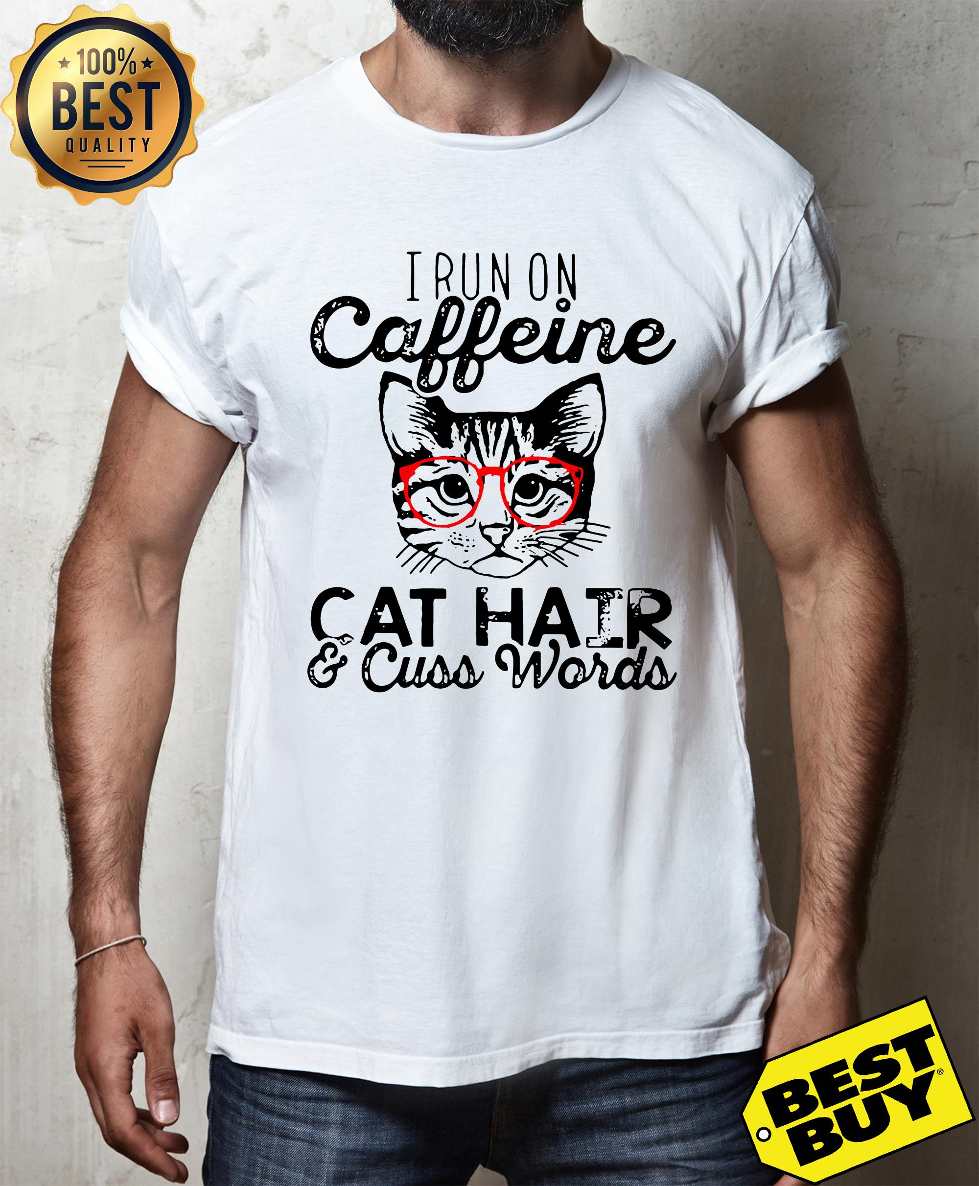 I run on caffeine cat hair cuss words funny ladies tee