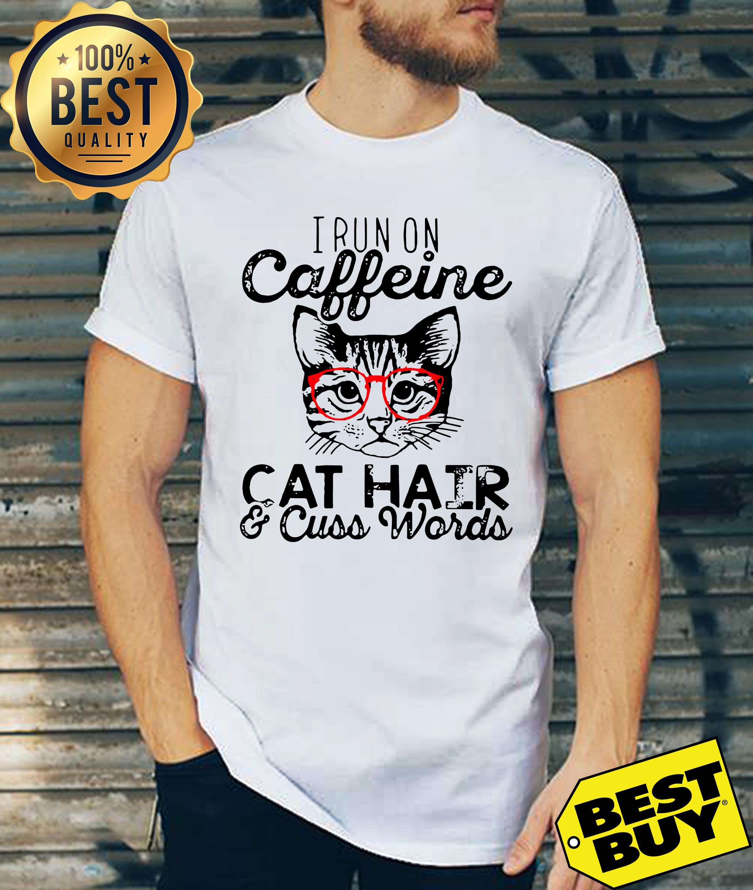 I run on caffeine cat hair cuss words funny tank top