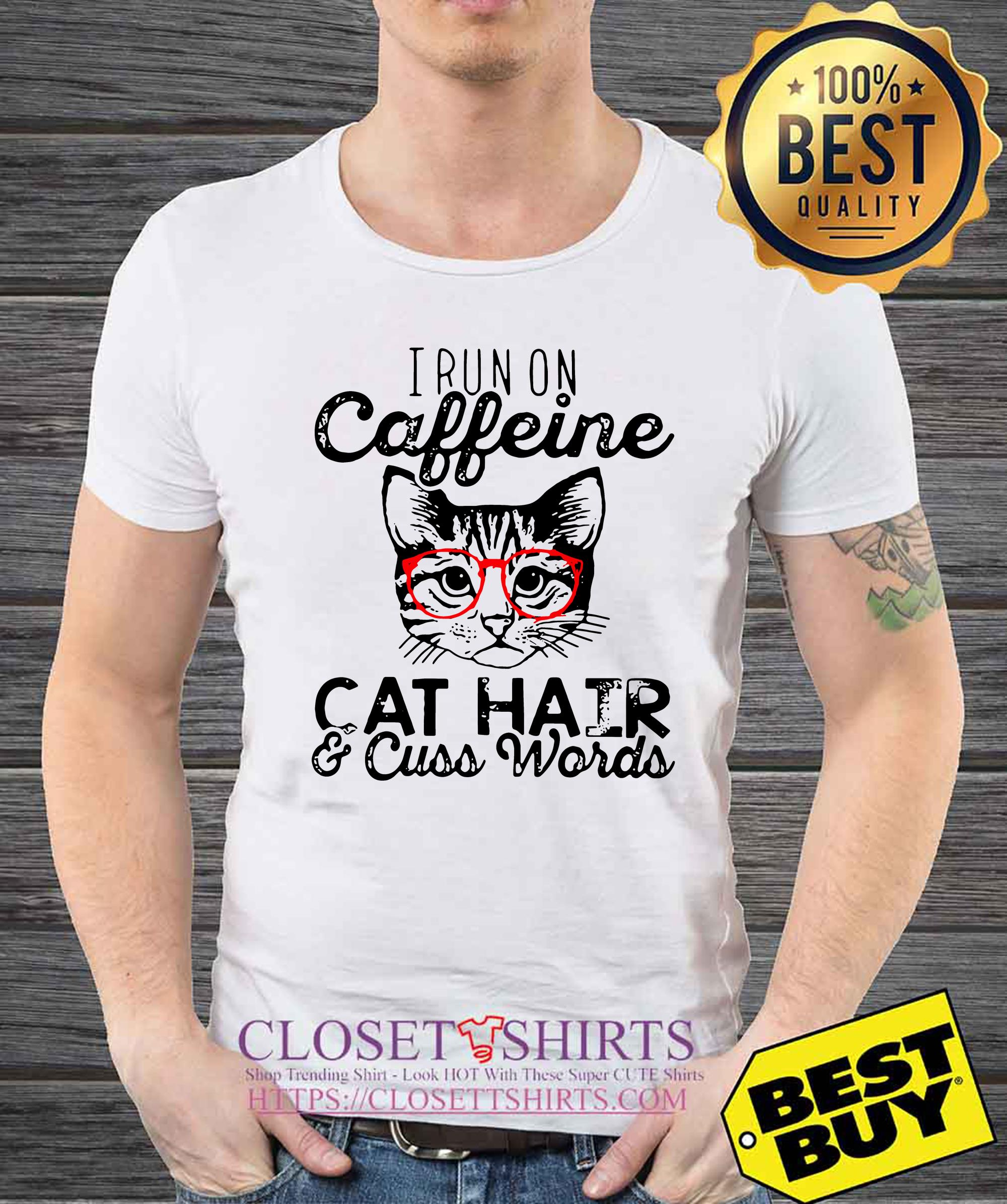 I run on caffeine cat hair cuss words funny v-neck