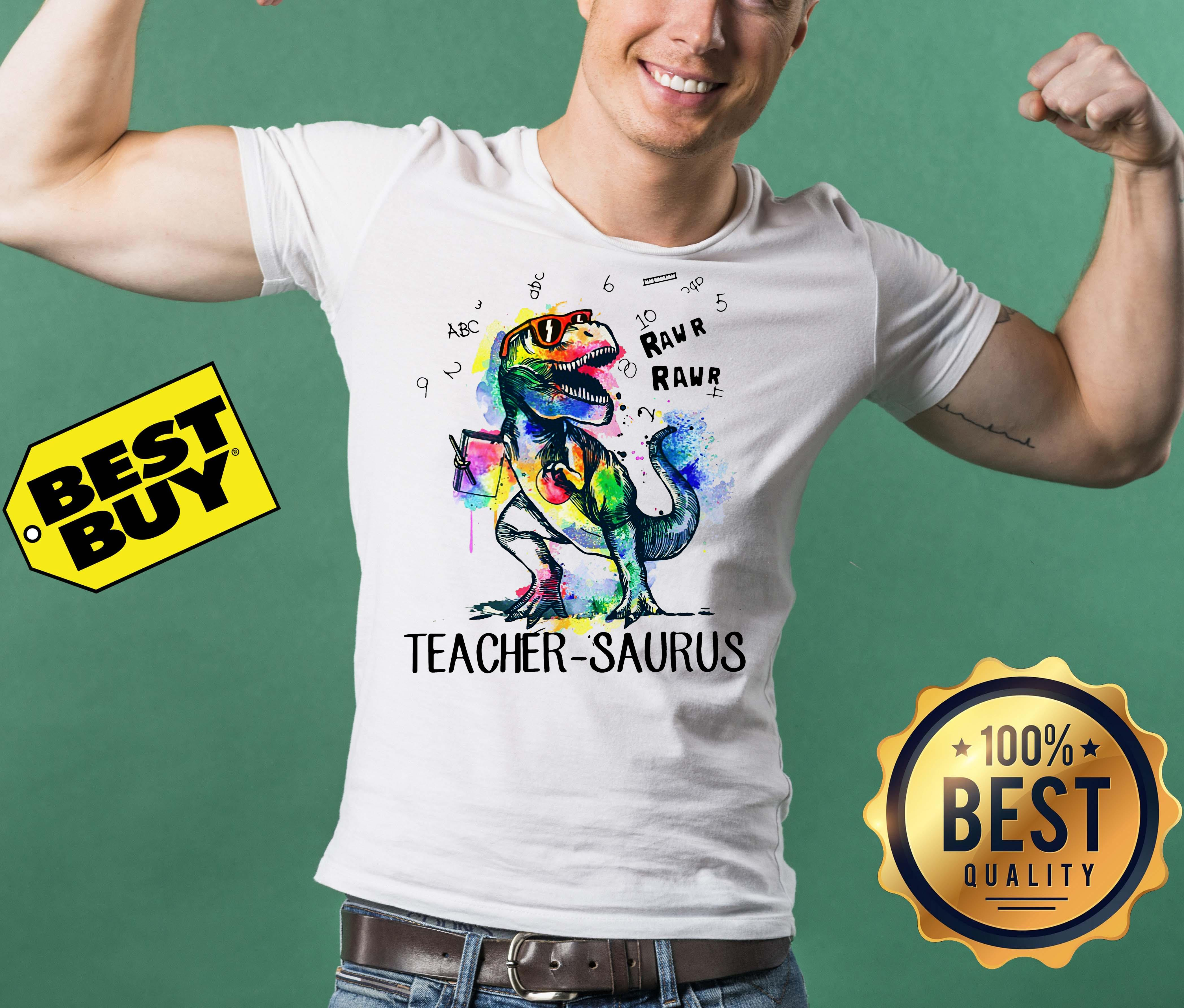 LGBT Dinosaur Trex teacher Saurus raw v-neck