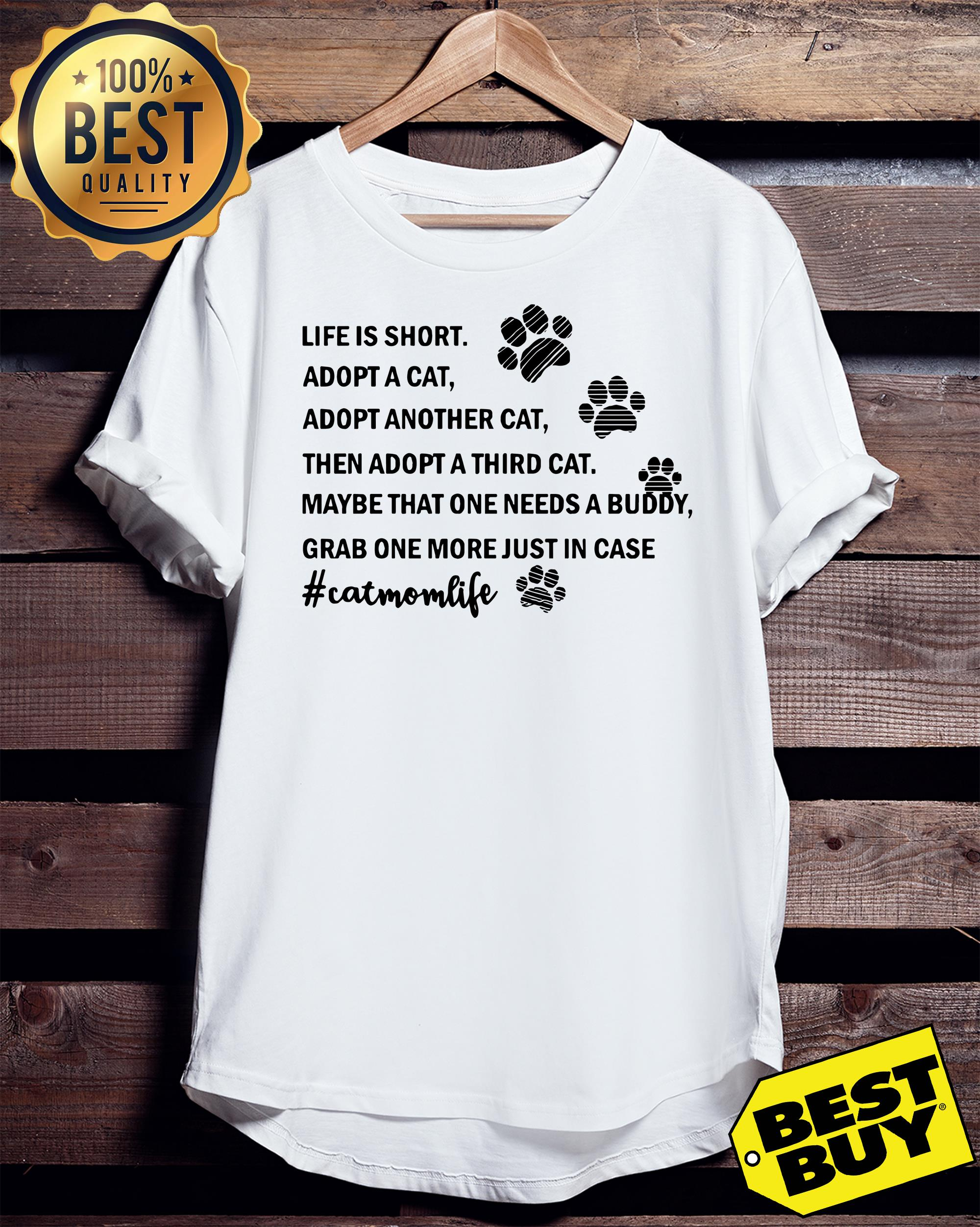 Life is short adopt a cat adopt another cat cat mom life funny tank top