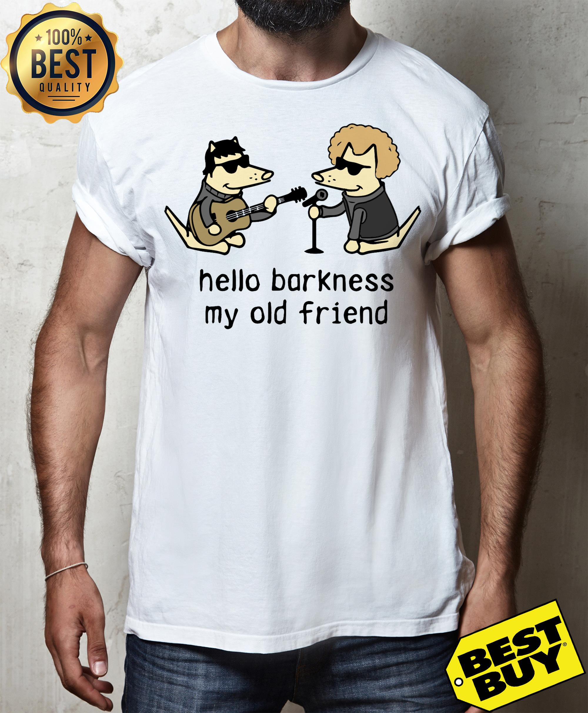 Official dog hello darkness my old friend v-neck