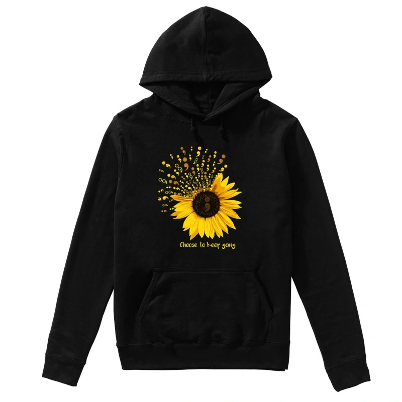 Sunflower Semicolon choose to keep going hoodie