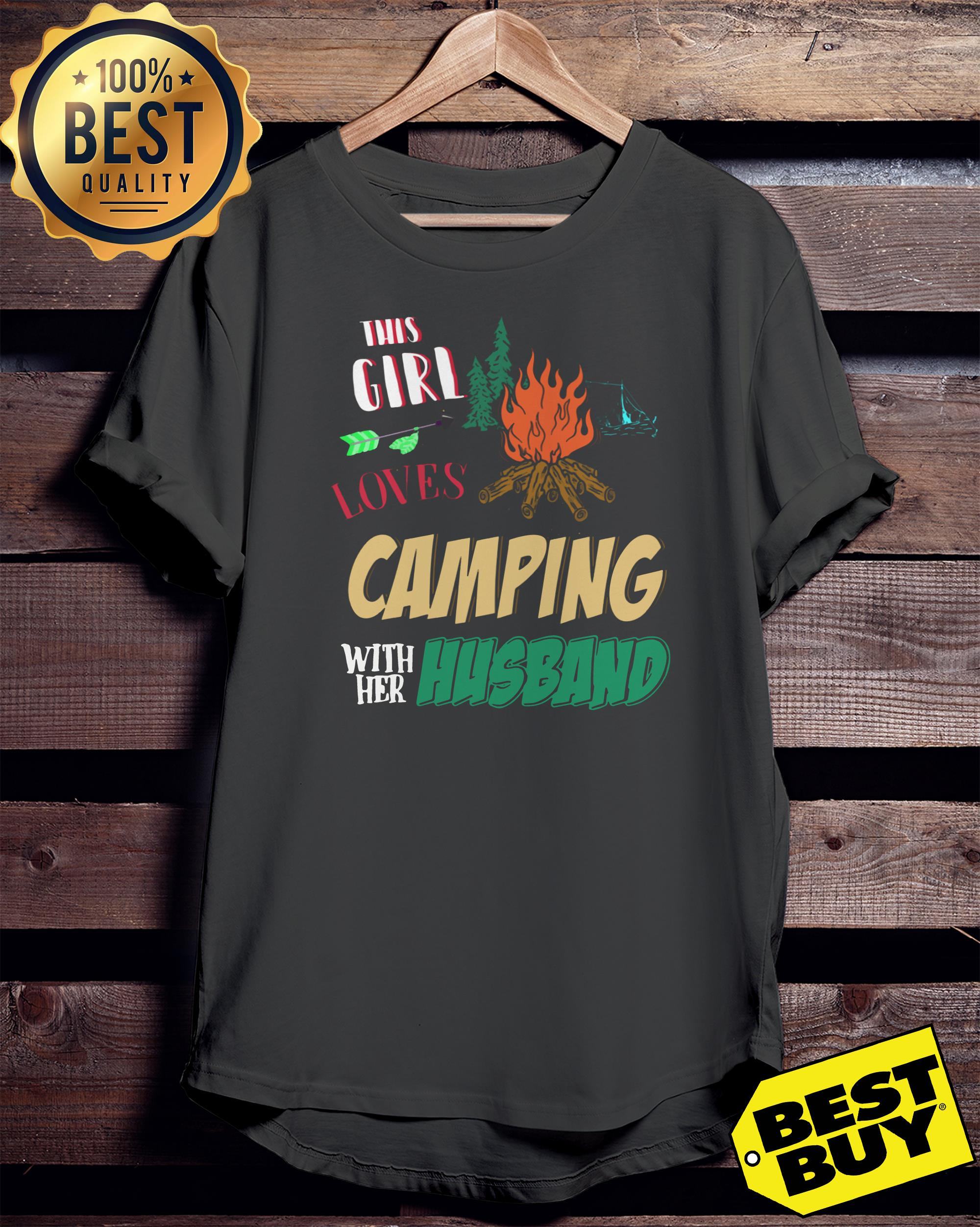 This Girl Loves Camping With Her Husband funny v-neck
