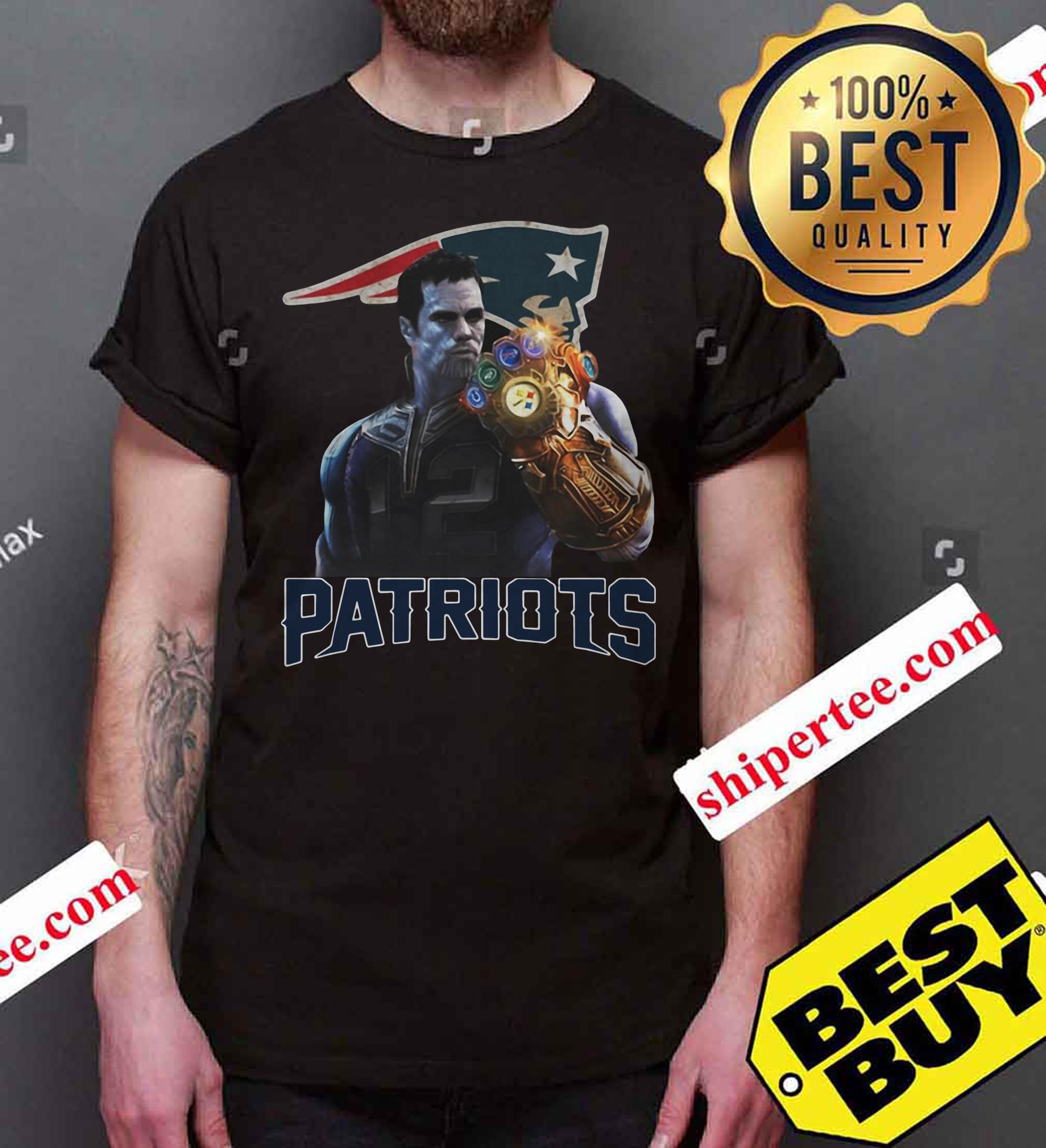 Tom Brady #12 Thanos infinity gauntlet Patriots funny shirt