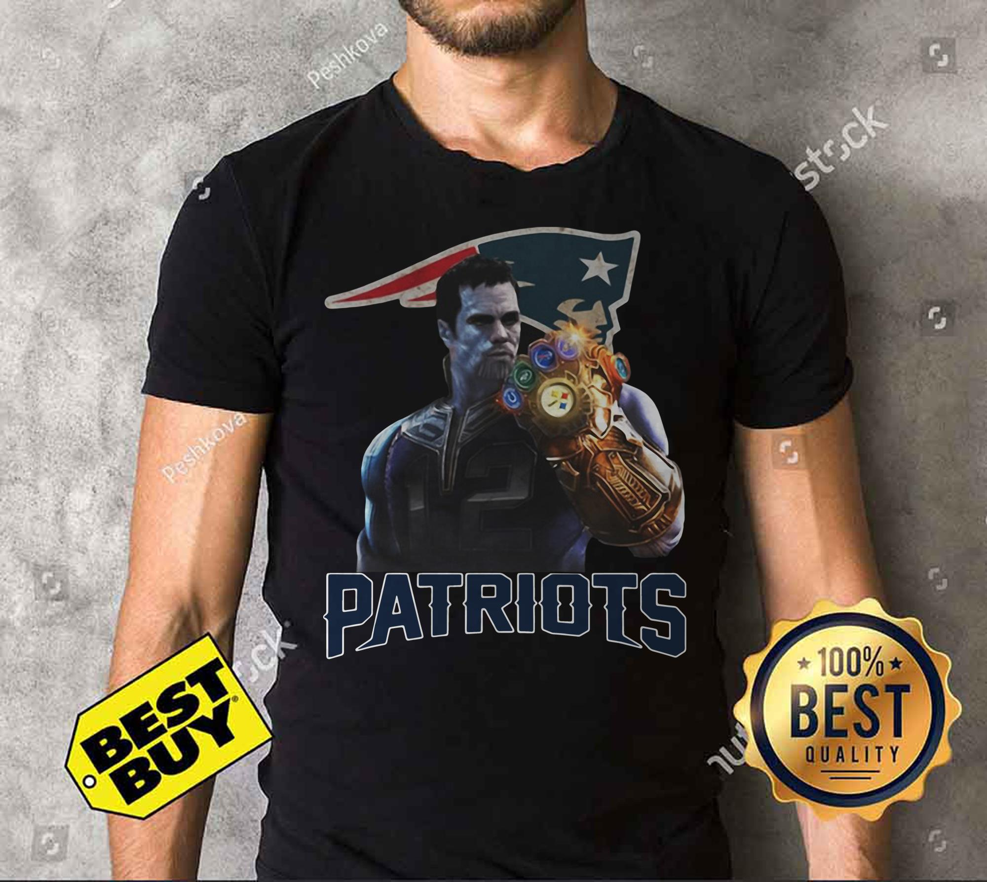 Tom Brady #12 Thanos infinity gauntlet Patriots funny tank top