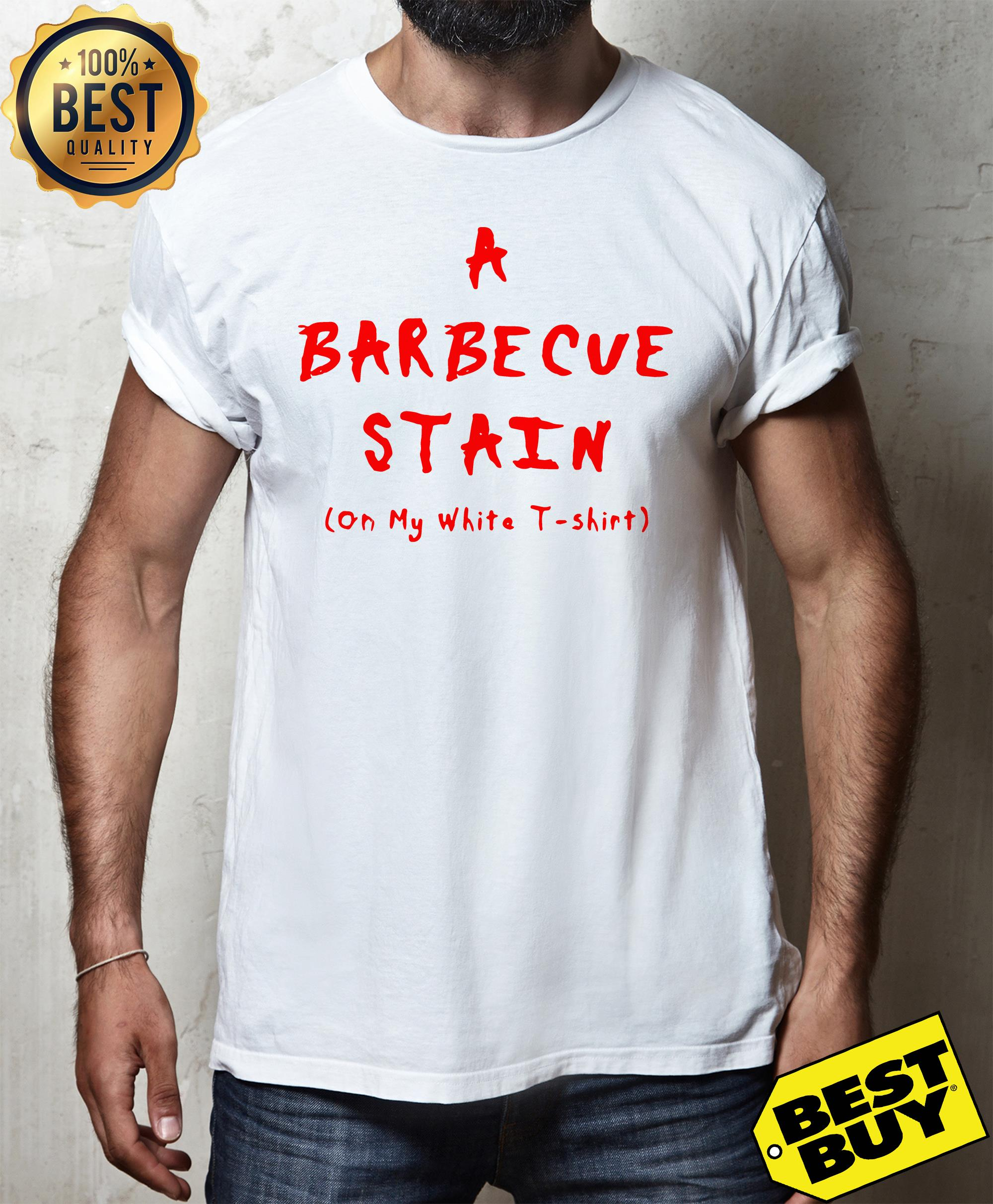 A Barbecue stain on my white t-shirt v-neck