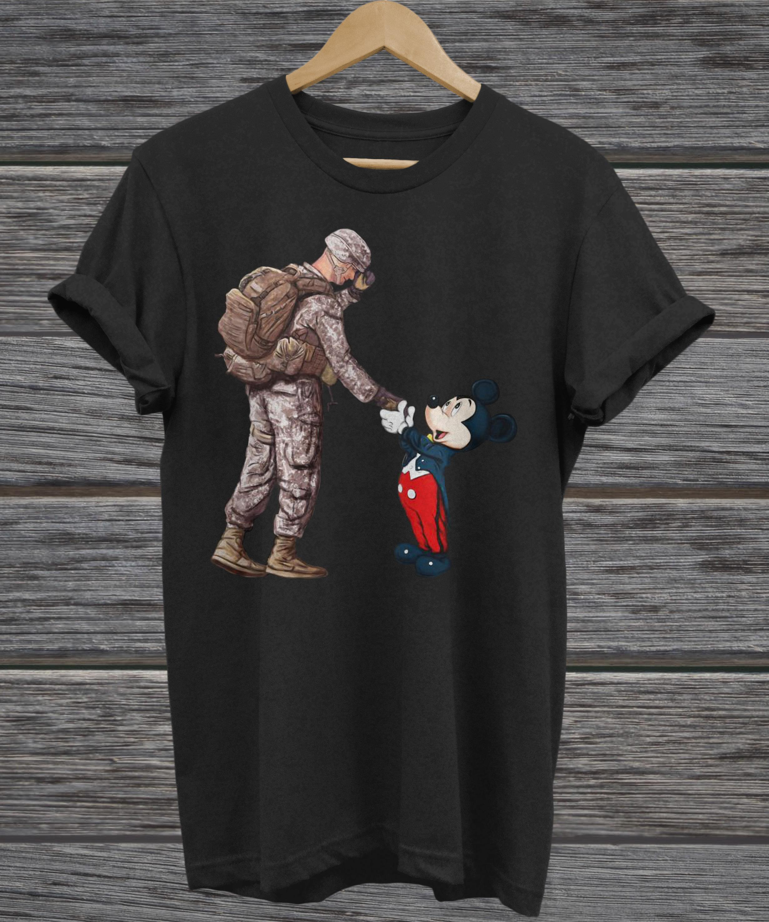 Army Soldier shake hands Mickey Mouse hoodie