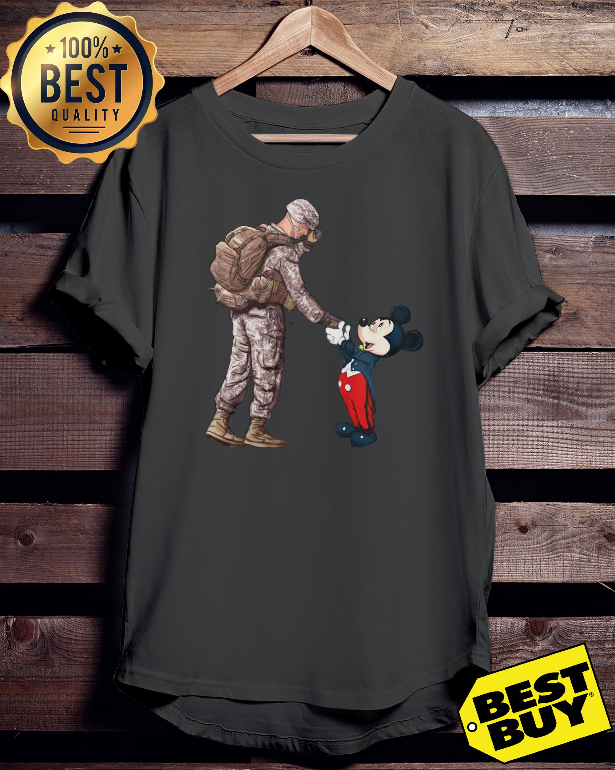 Army Soldier shake hands Mickey Mouse ladies tee