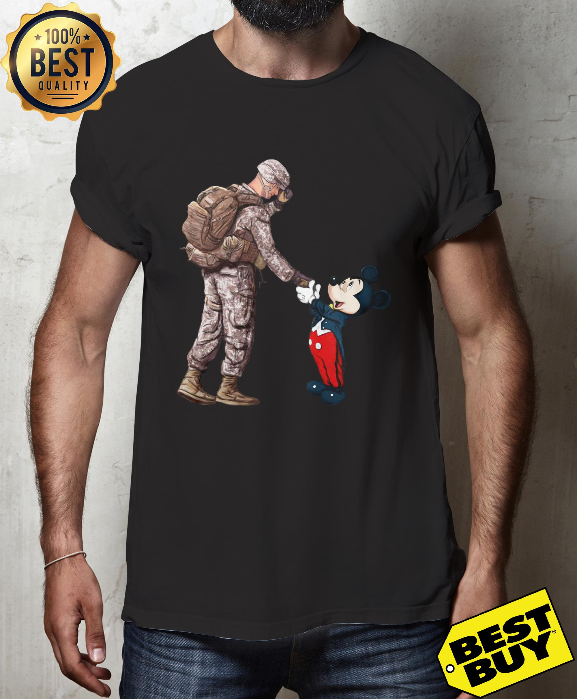 Army Soldier shake hands Mickey Mouse shirt