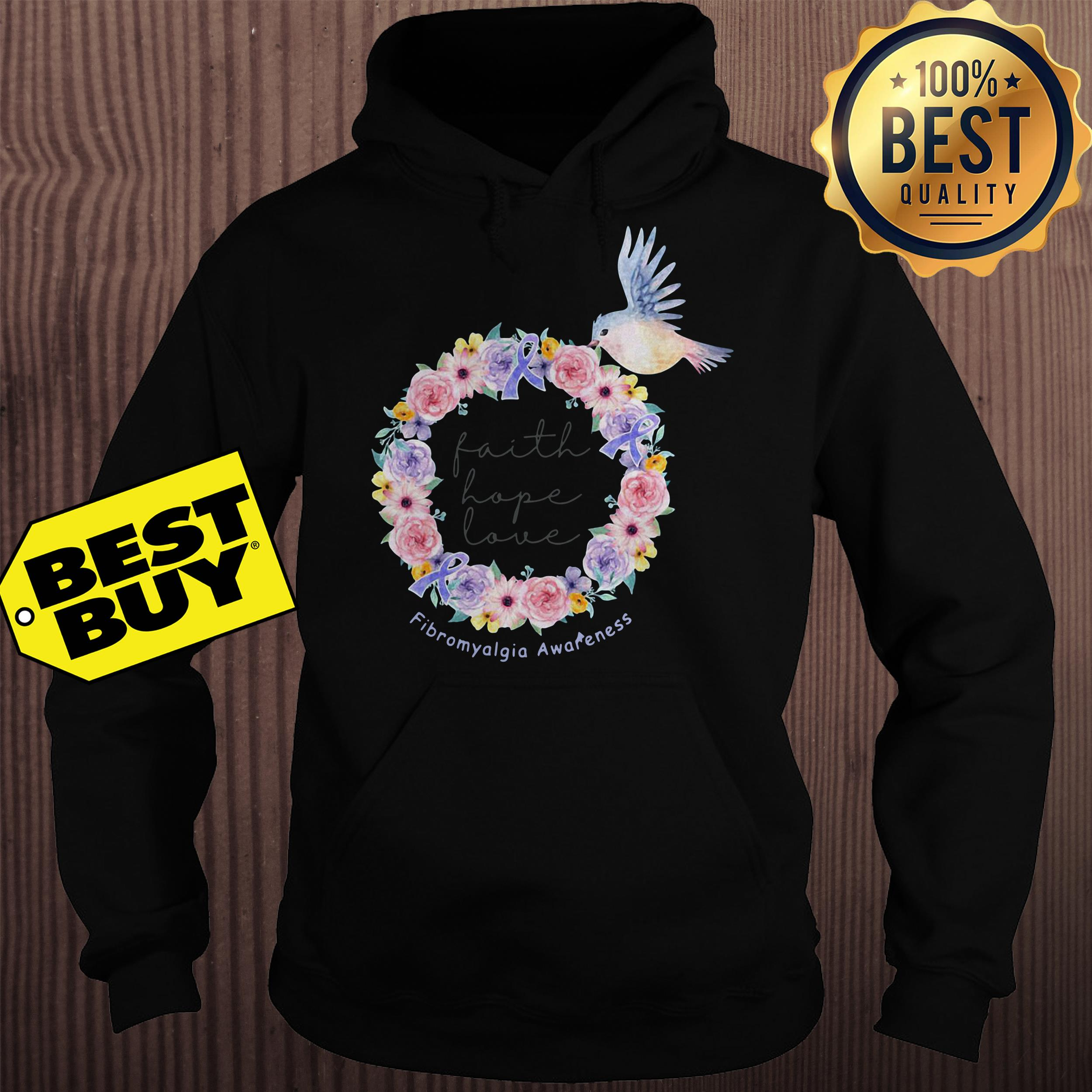Bird flower faith hope love Fibromyalgia awareness hoodie