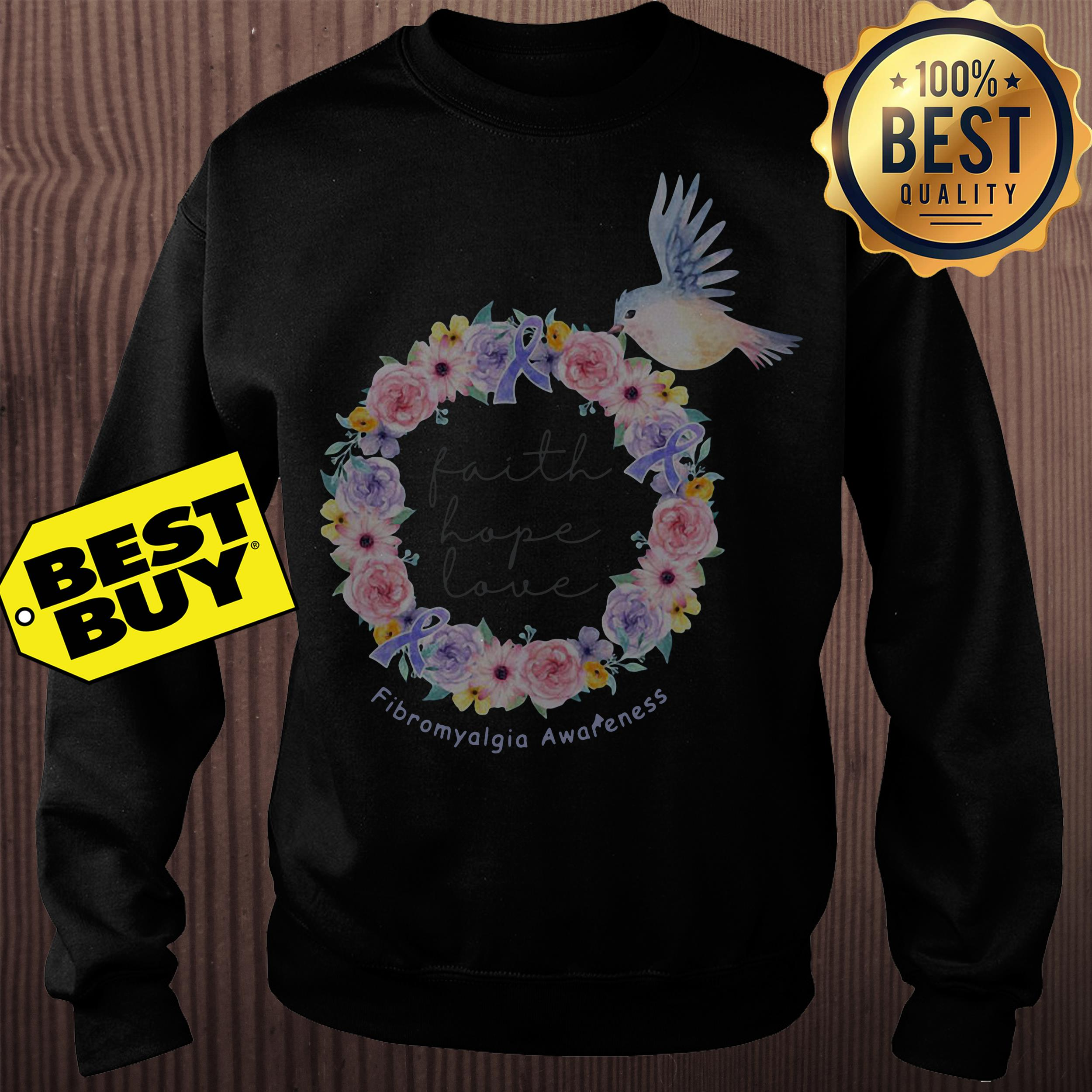 Bird flower faith hope love Fibromyalgia awareness sweatshirt