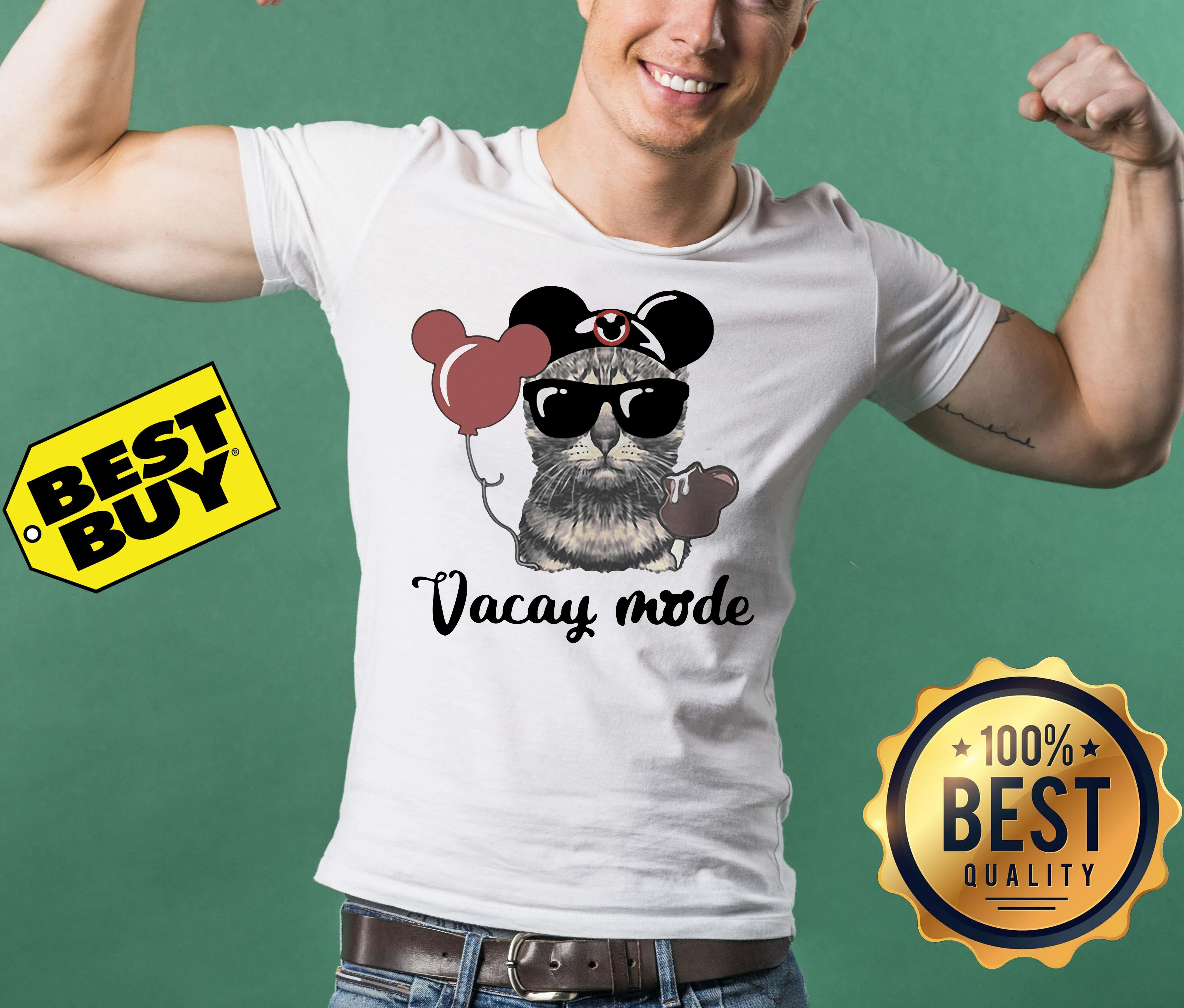 Cat with Mickey Mouse Ears Vacay mode tank top
