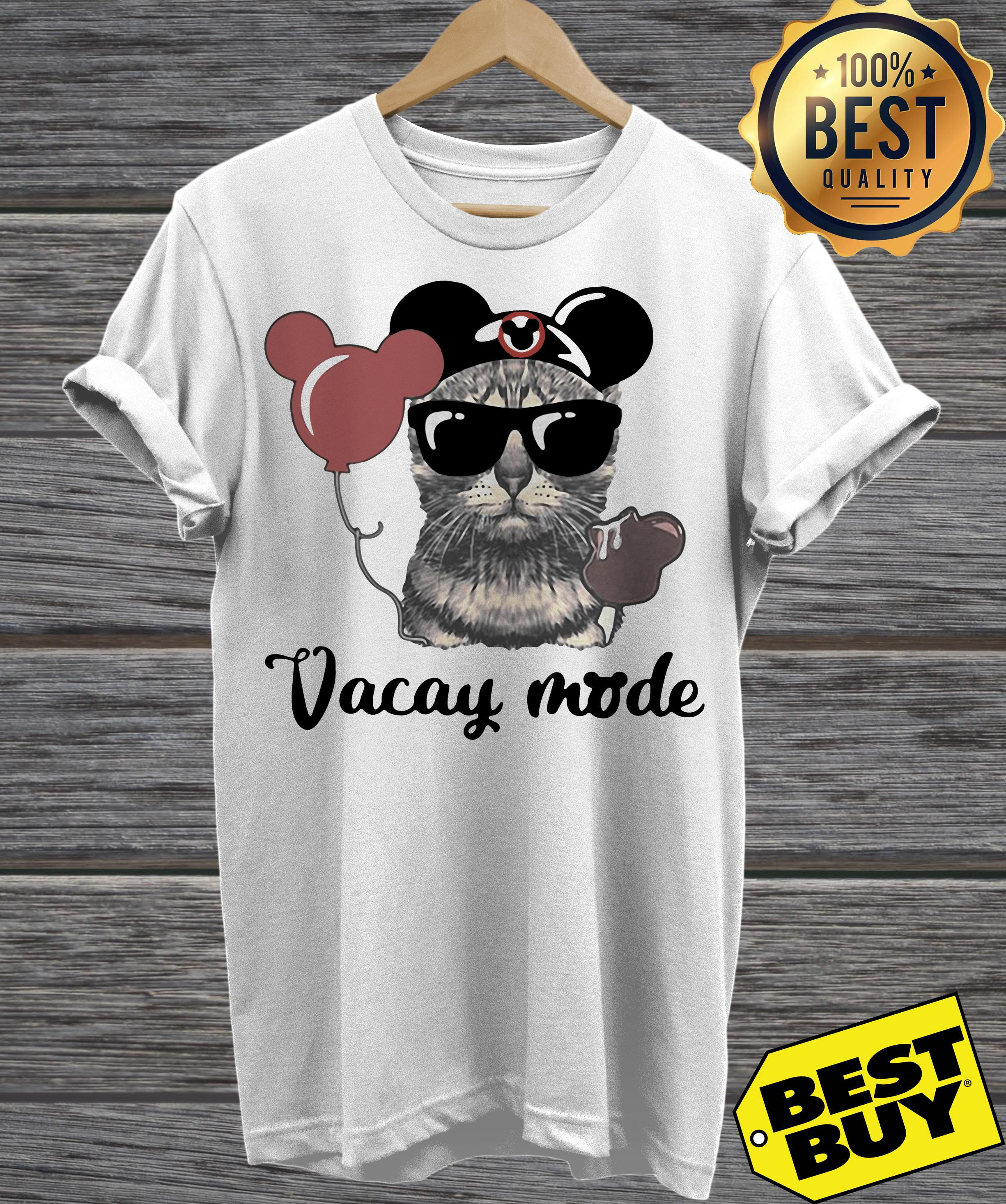 Cat with Mickey Mouse Ears Vacay mode v-neck
