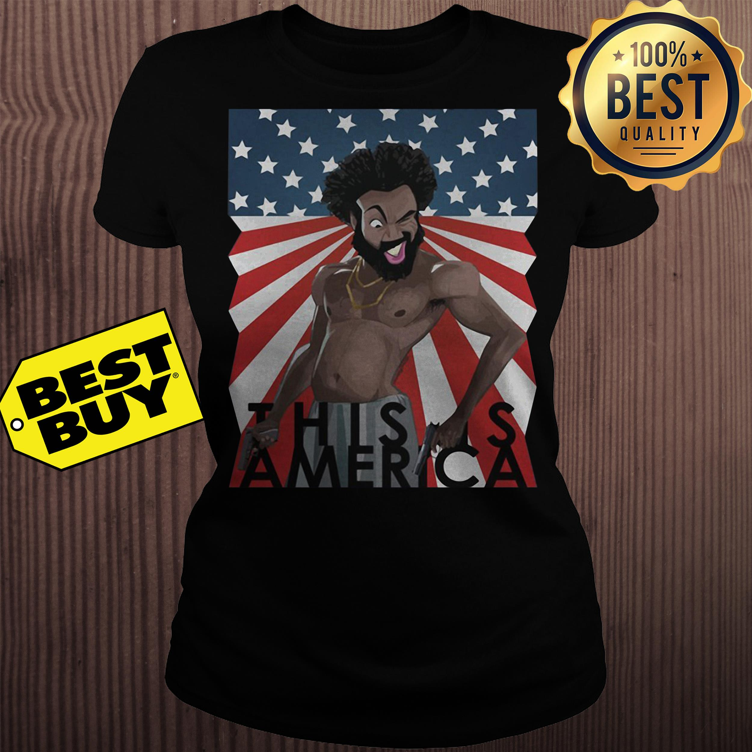 Childish Gambino This is America American Flag ladies tee
