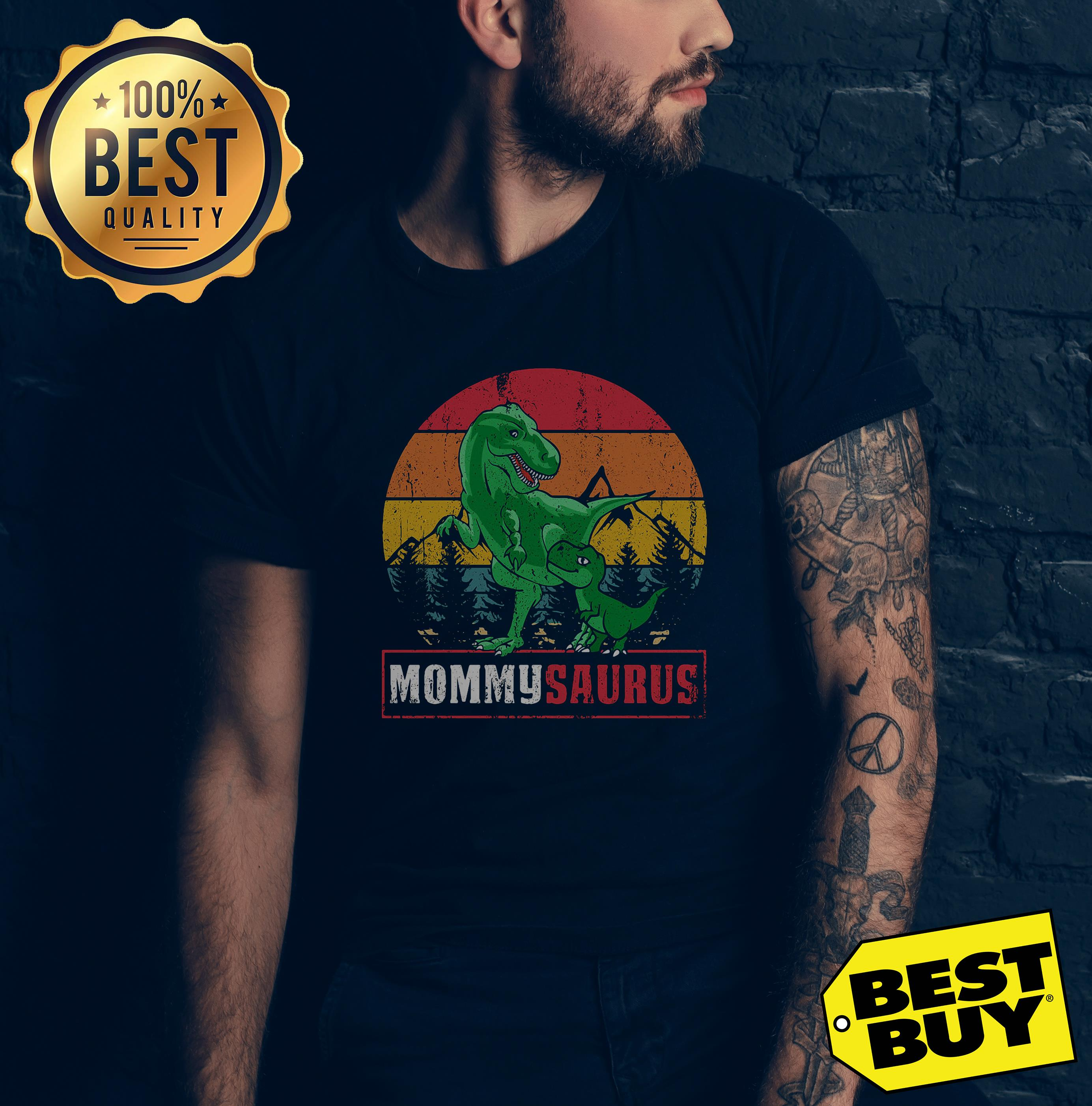 Dinosaur Mommysaurus Mother's Day vintage v-neck