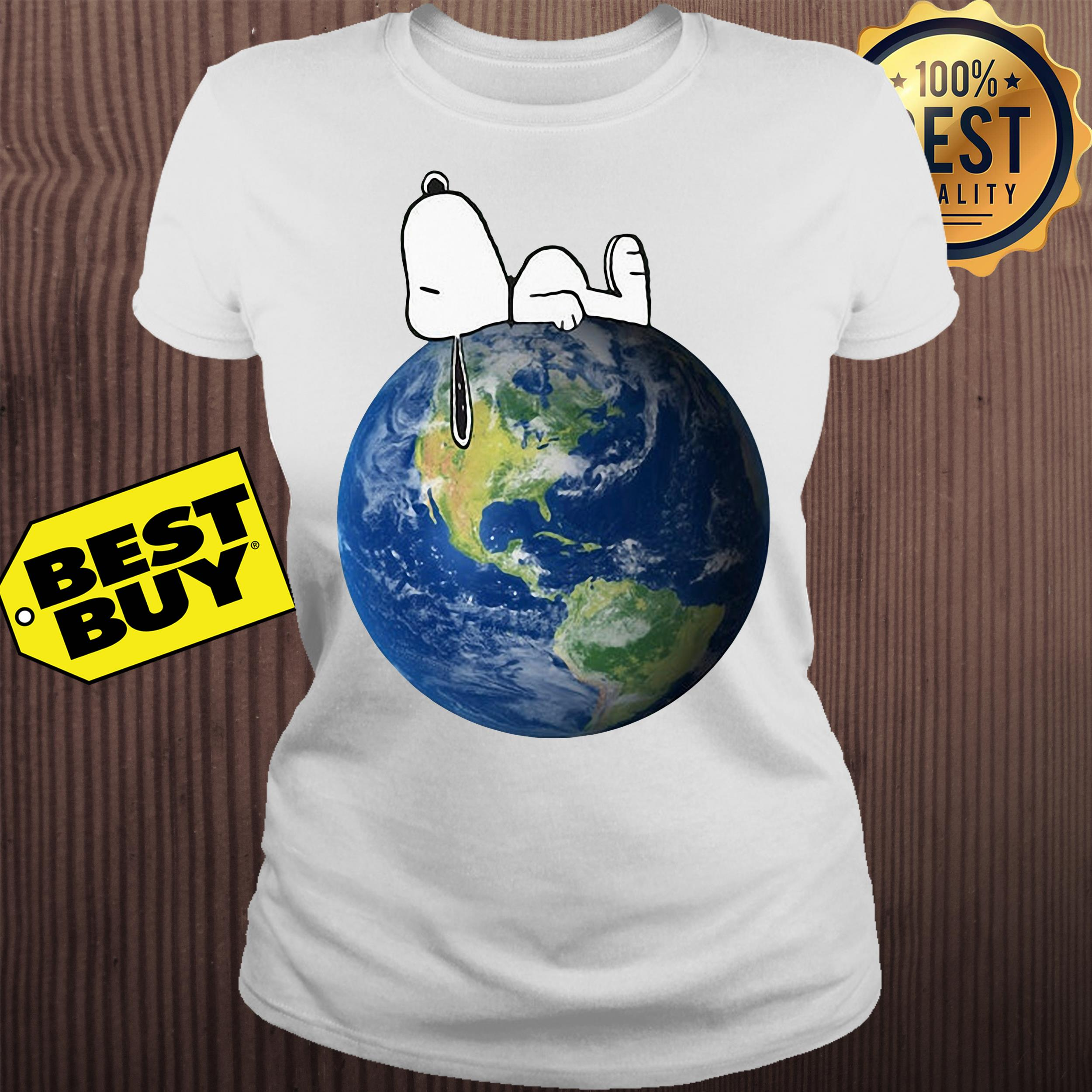 Earth Day snoopy sleep on Earth ladies tee