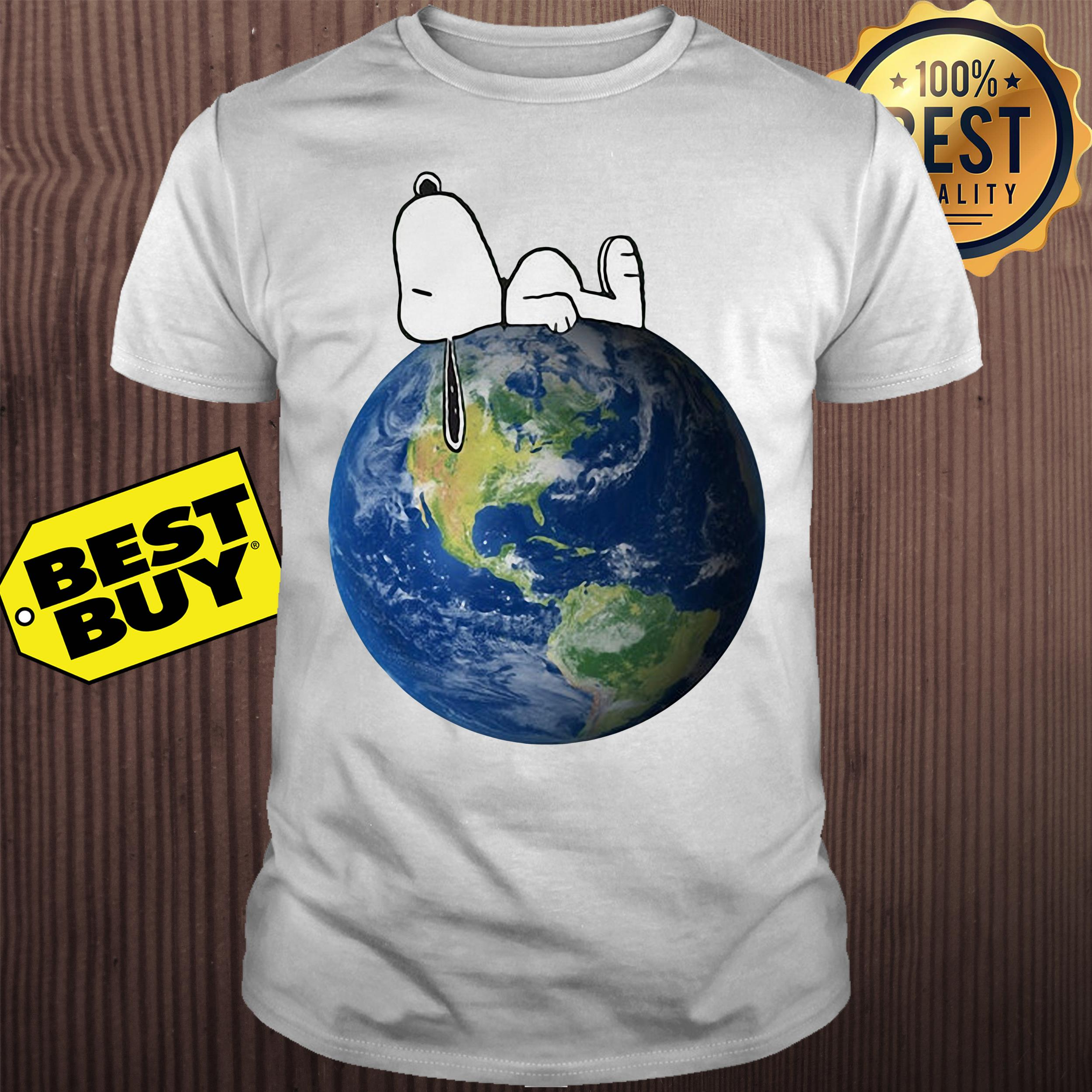 Earth Day snoopy sleep on Earth shirt