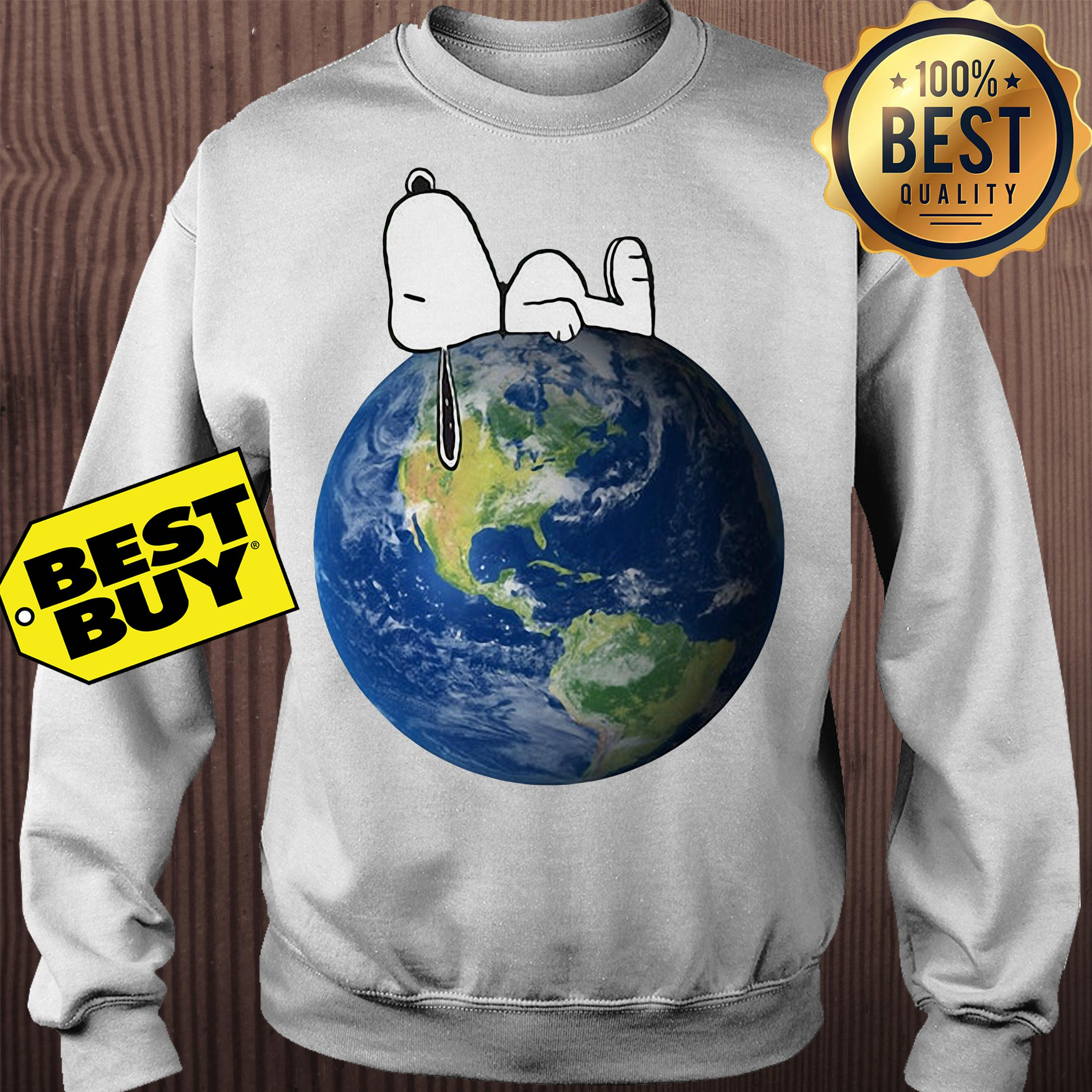 Earth Day snoopy sleep on Earth sweatshirt